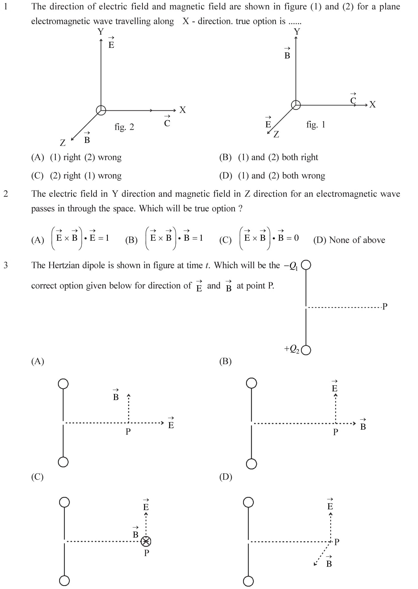 Questions based on Eletromagnetic Waves - EM Waves for Entrance Exams topic 1