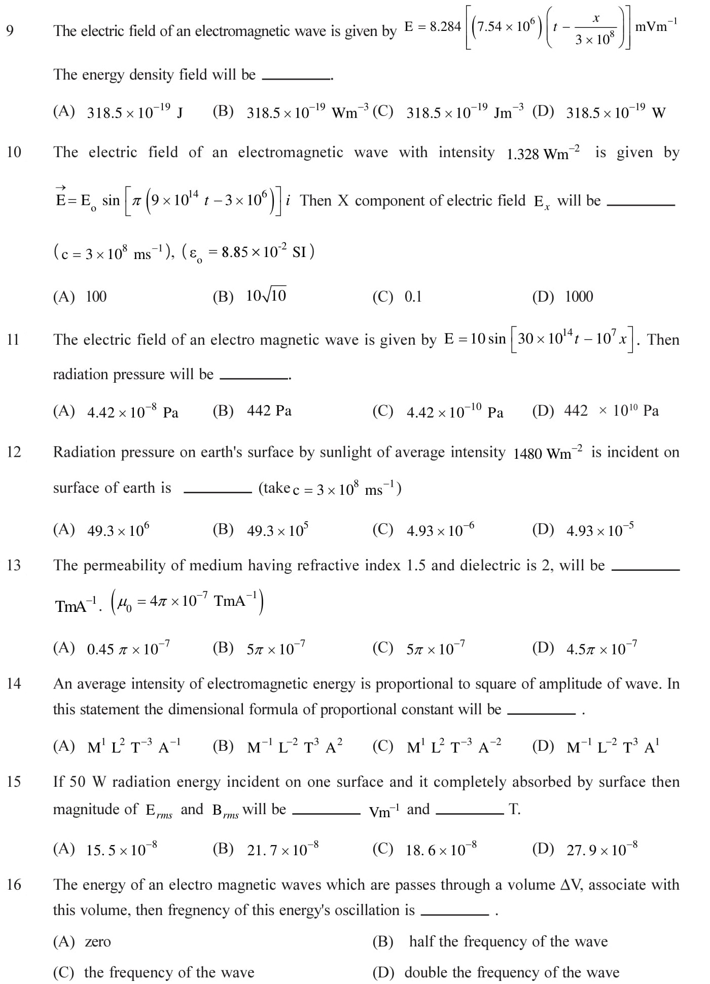 Questions based on Eletromagnetic Waves - EM Waves for Entrance Exams topic 3