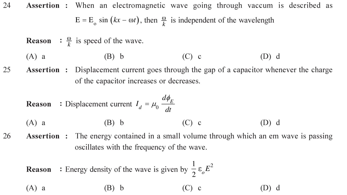 Questions based on Eletromagnetic Waves - EM Waves for Entrance Exams topic 5