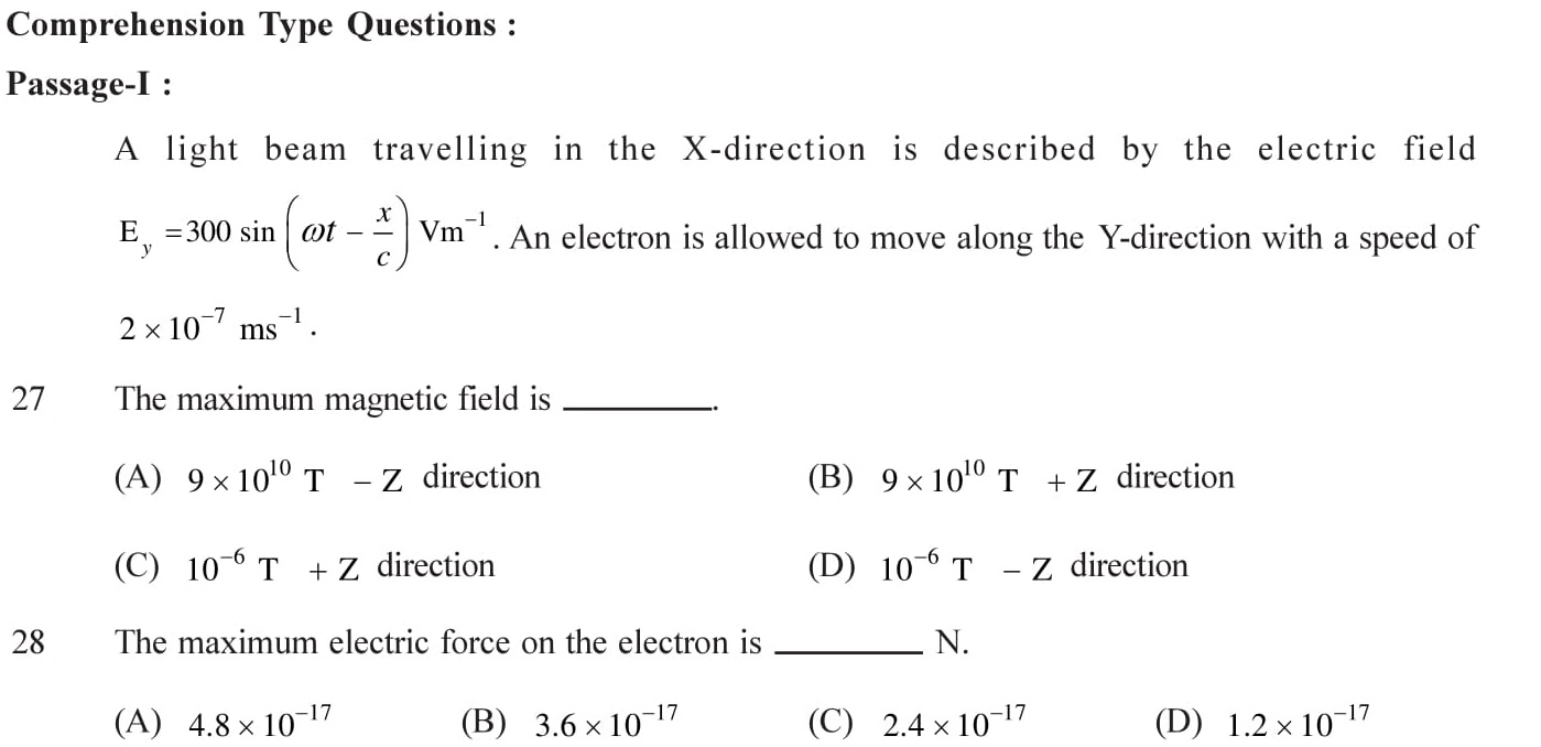 Questions based on Eletromagnetic Waves - EM Waves for Entrance Exams topic 6