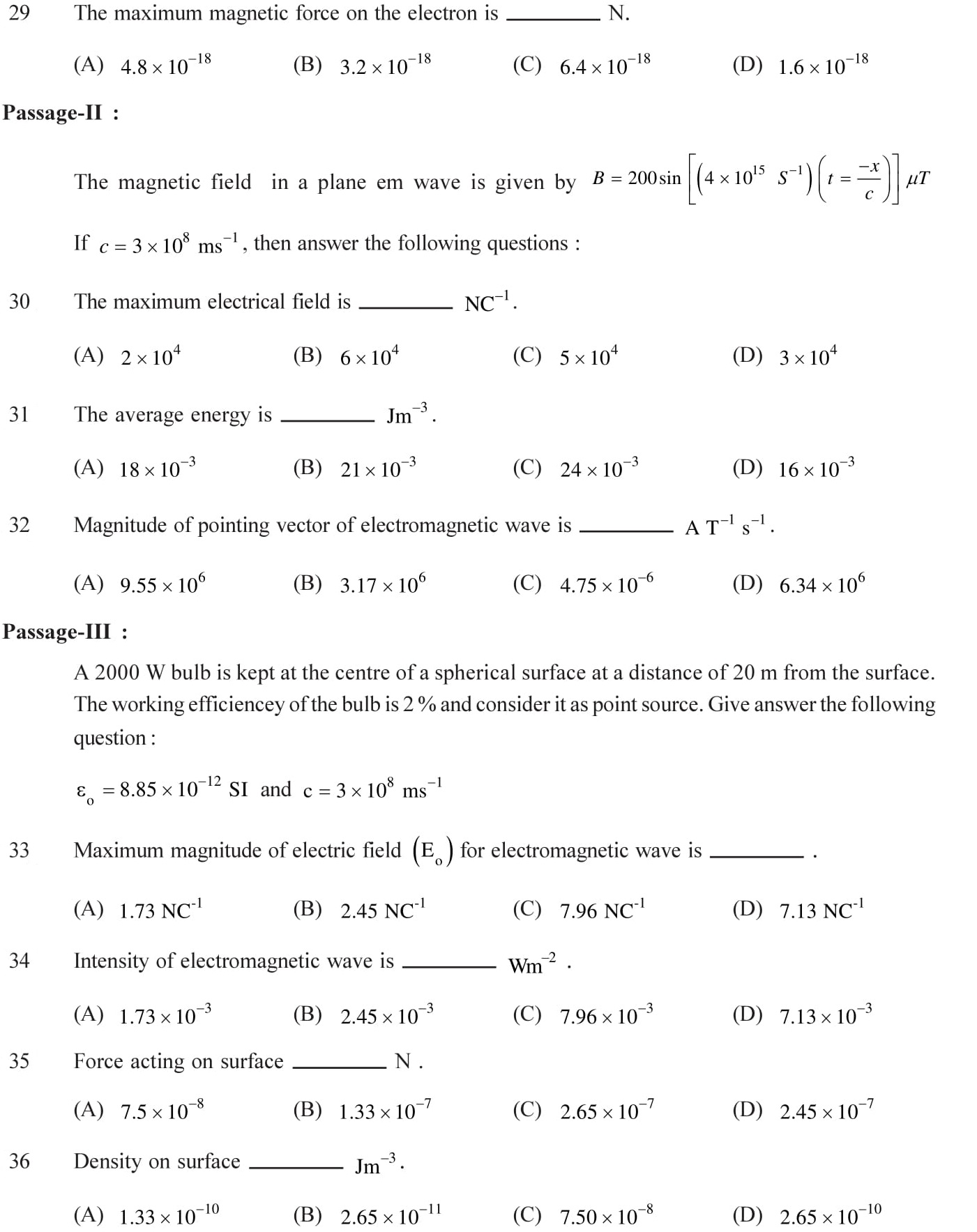 Questions based on Eletromagnetic Waves - EM Waves for Entrance Exams topic 7