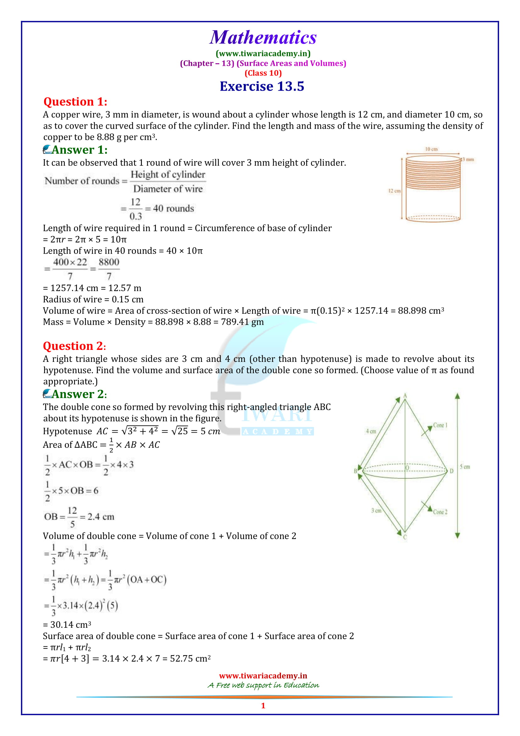 10 Maths Exercise 13.5 in english medium