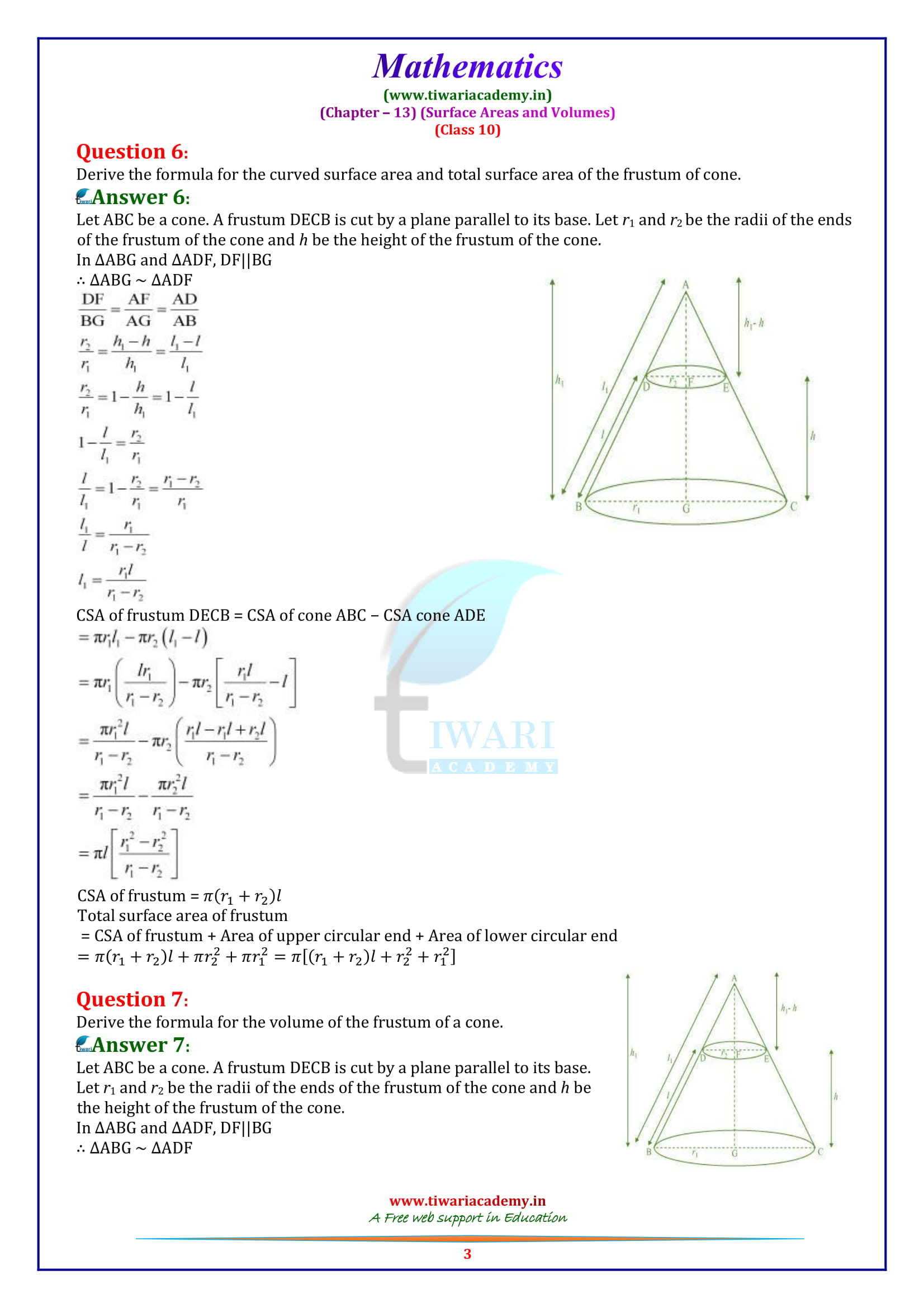 10 Maths exercise 13.5 question 1, 2, 3, 4, 5, 6, 7