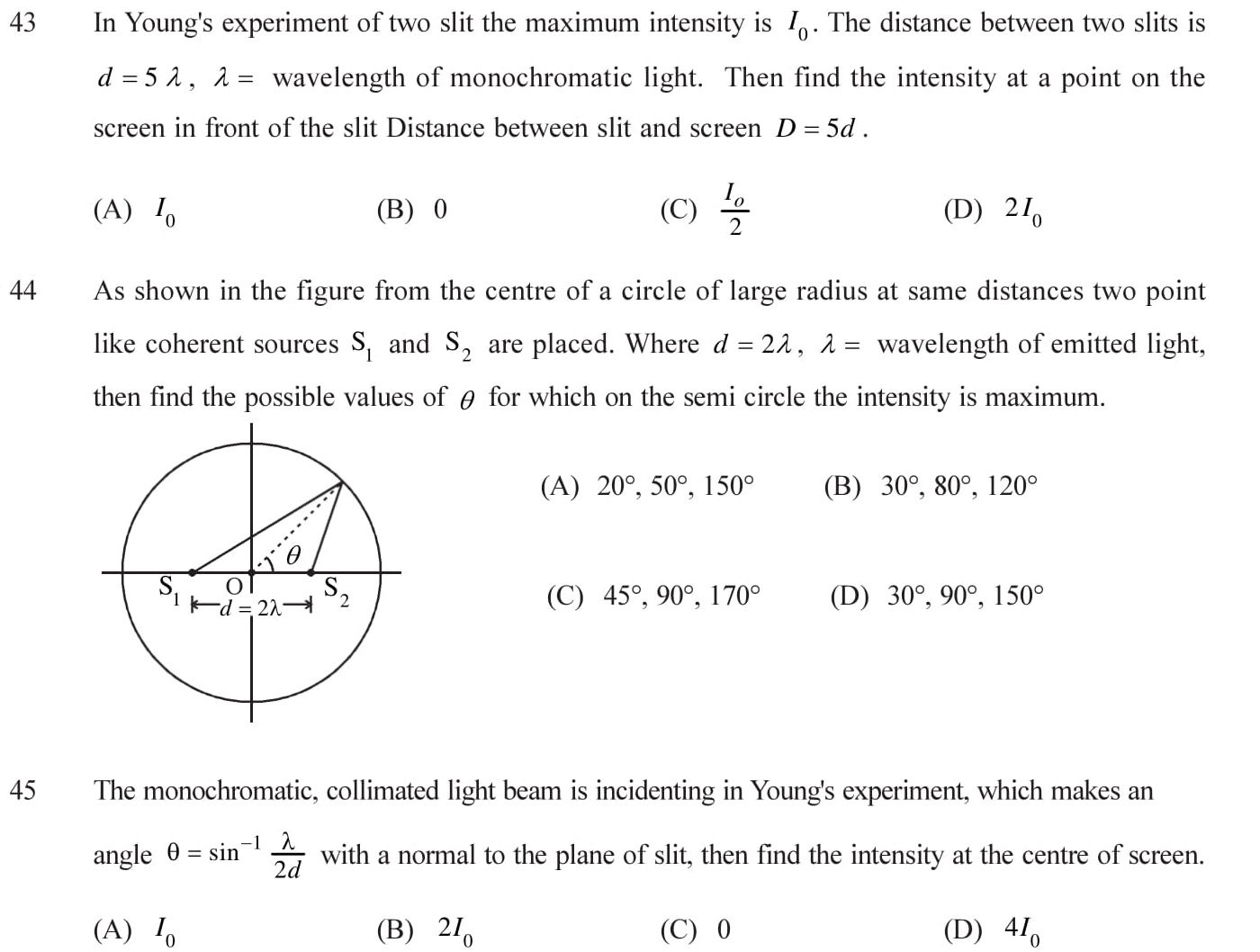 Practce question with answers on wave optices