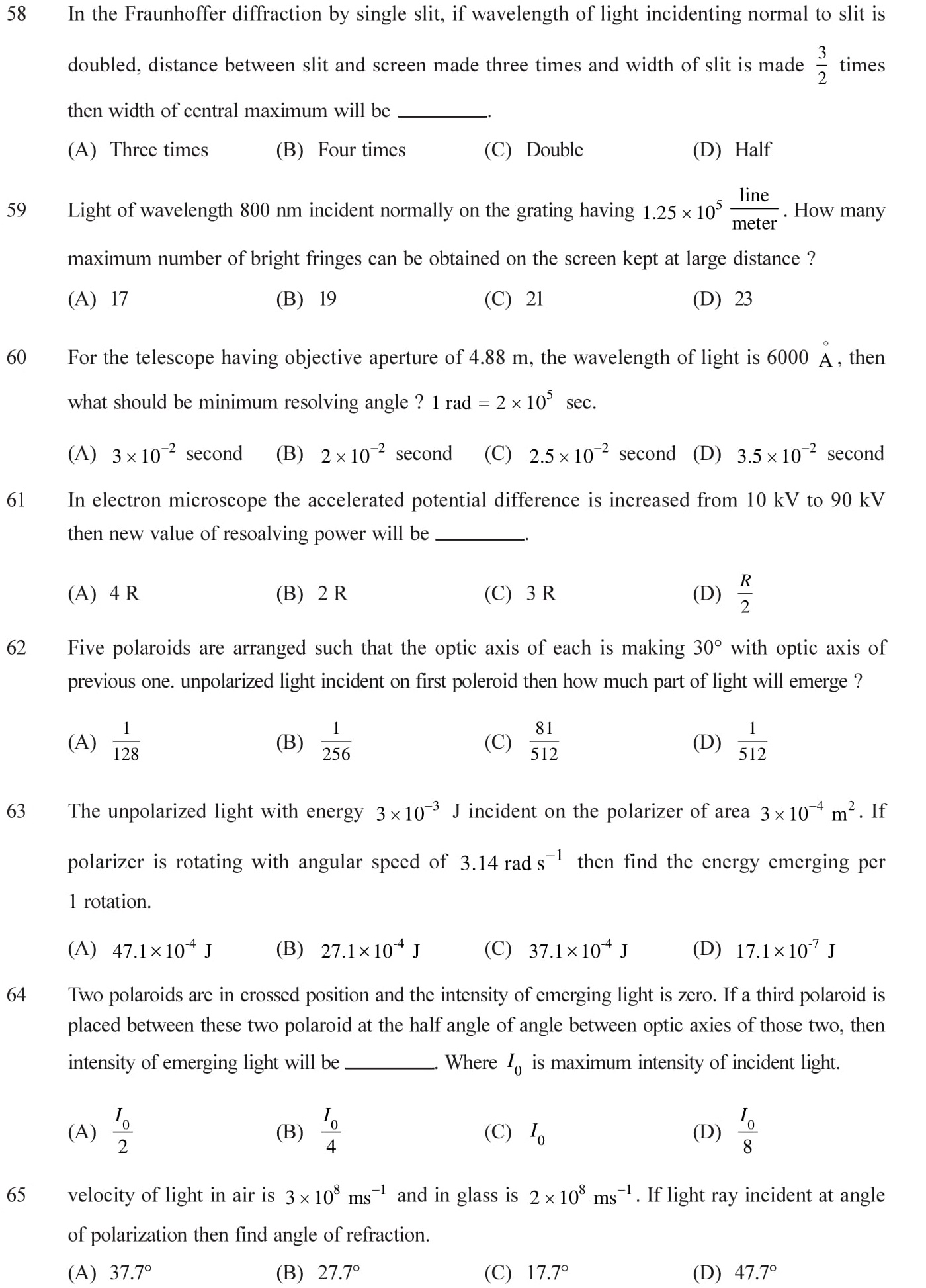 Practice questions on wave optices with answers