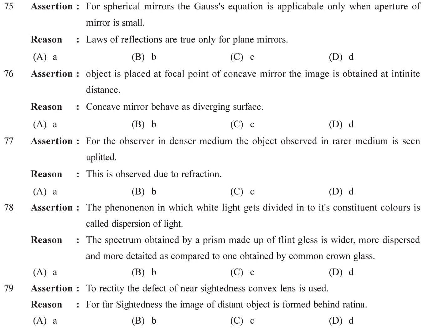 Reason type questions on wave optics