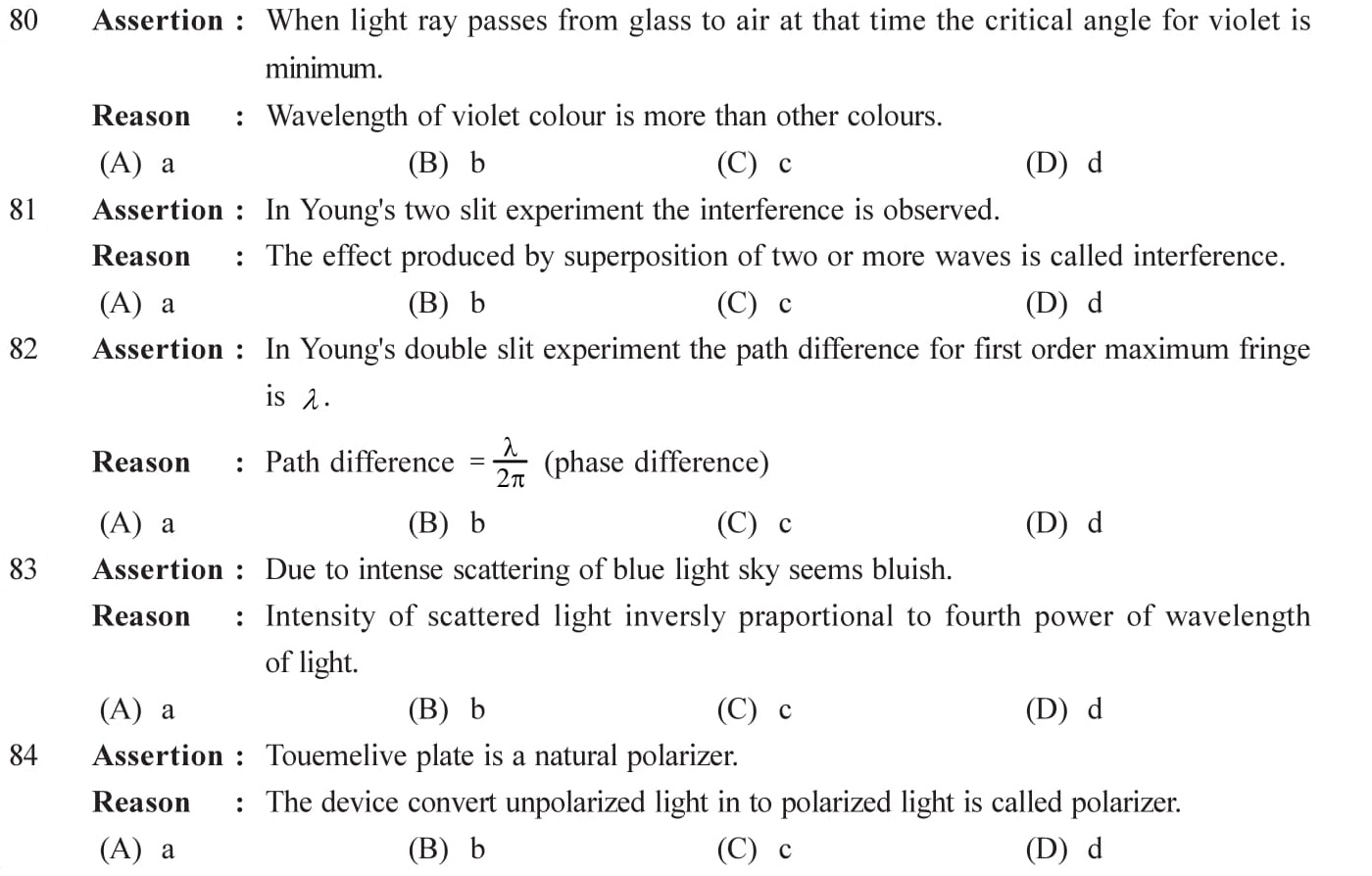 Important questions on wave optics for practice