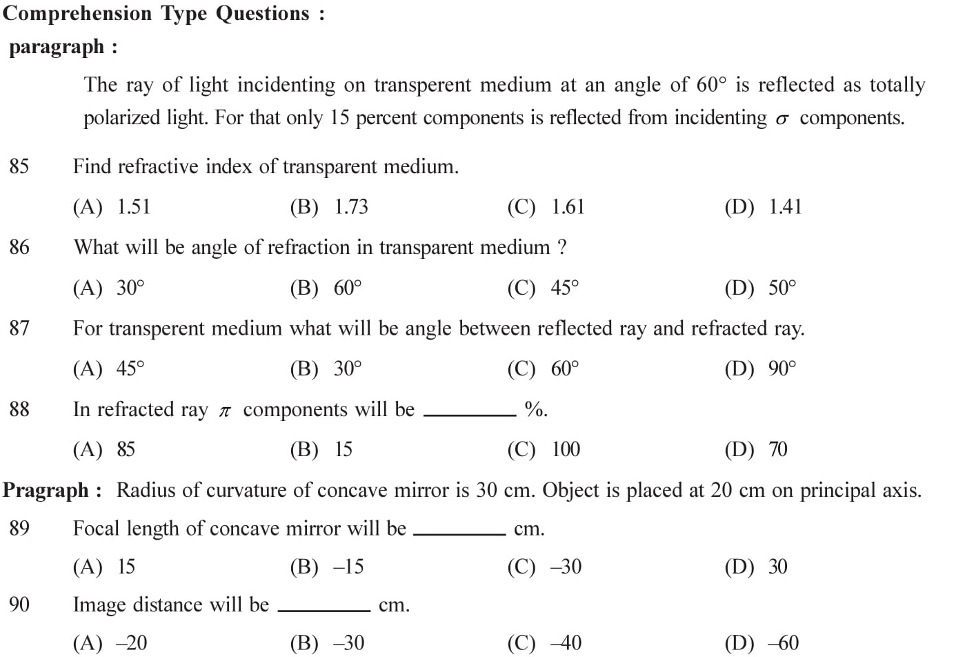 Practice questions on wave opticse for cbse exams