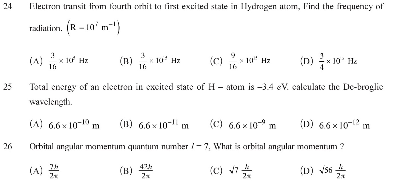 Numerical problems based on atoms in PDF form