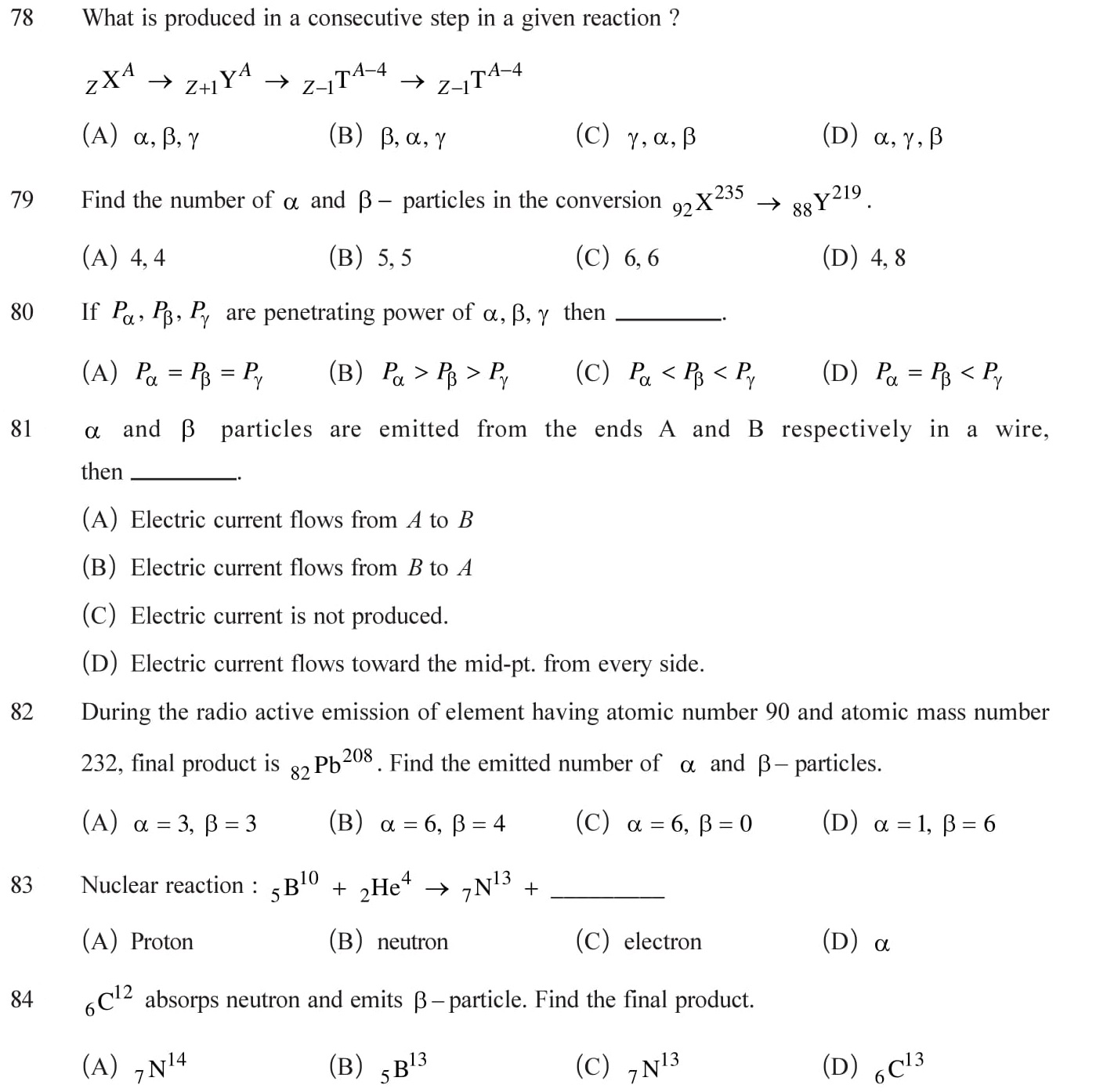 Questions on nuclei for practice 12 Physics