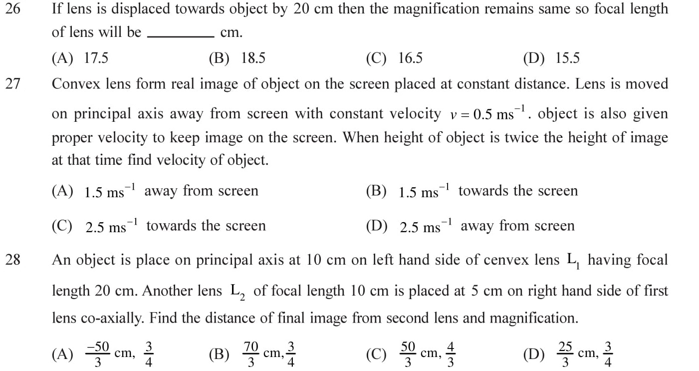 Important questions on combination of lens with answers