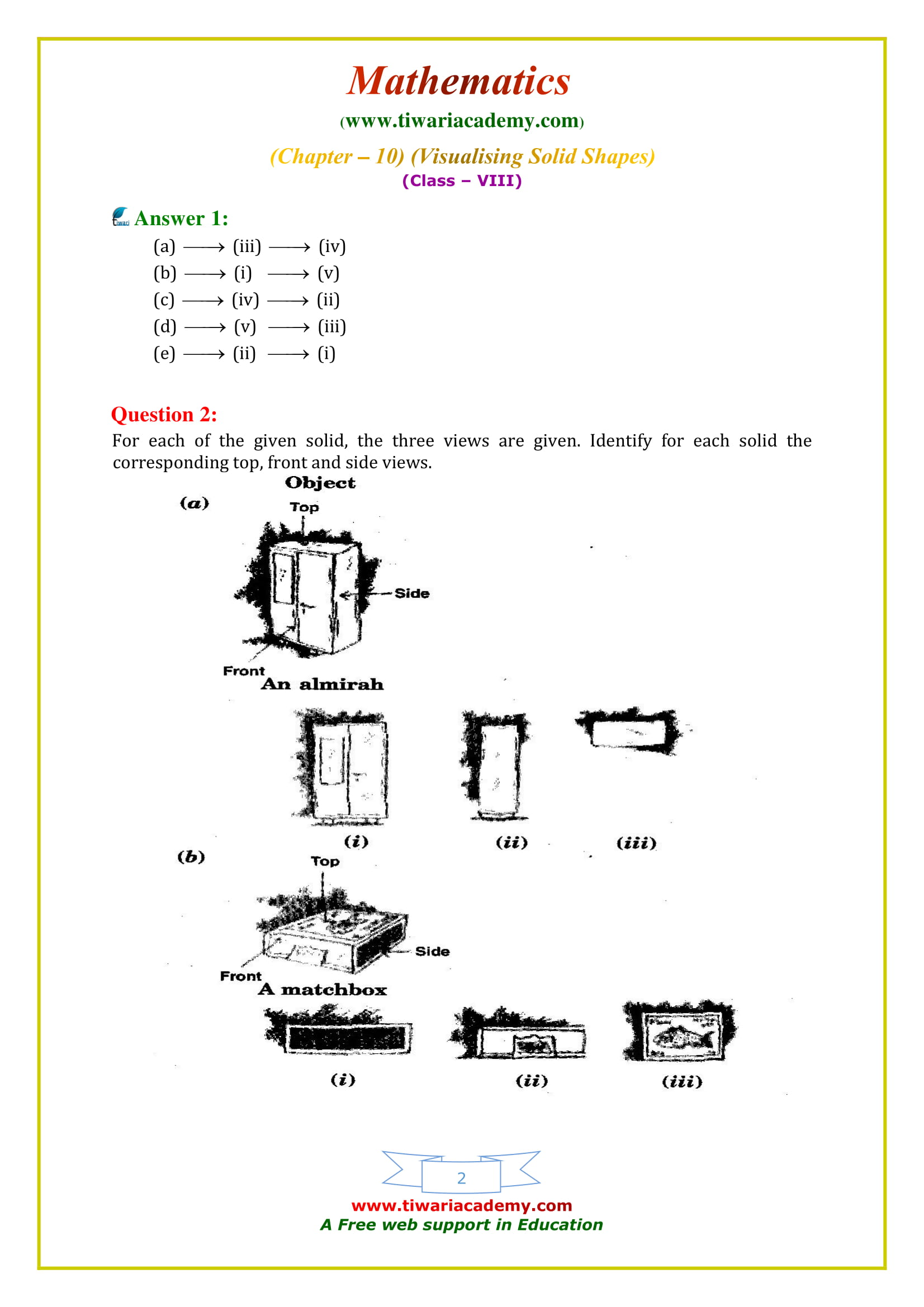 NCERT Solutions for Class 8 Maths Chapter 10 Exercise 10.1 Visualizing Solid Shapes in english