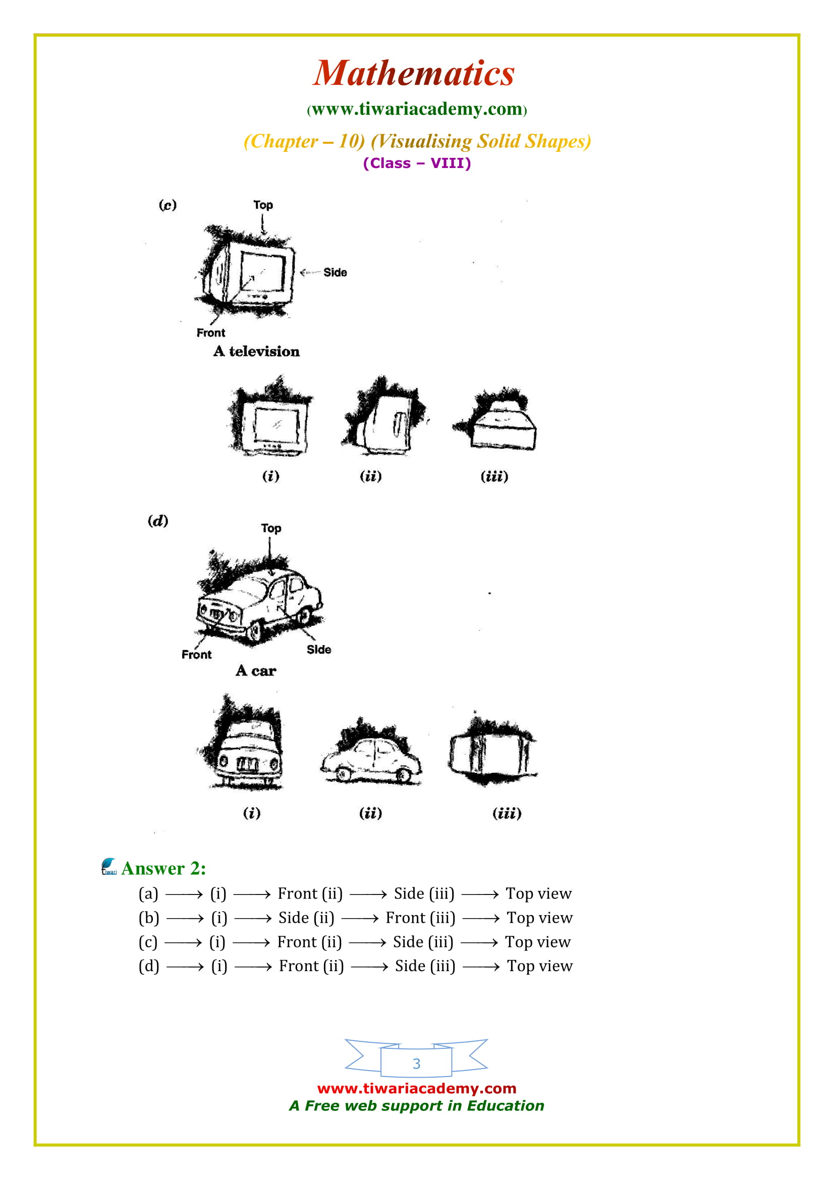 NCERT Solutions for Class 8 Maths Chapter 10 Exercise 10.1 in english medium