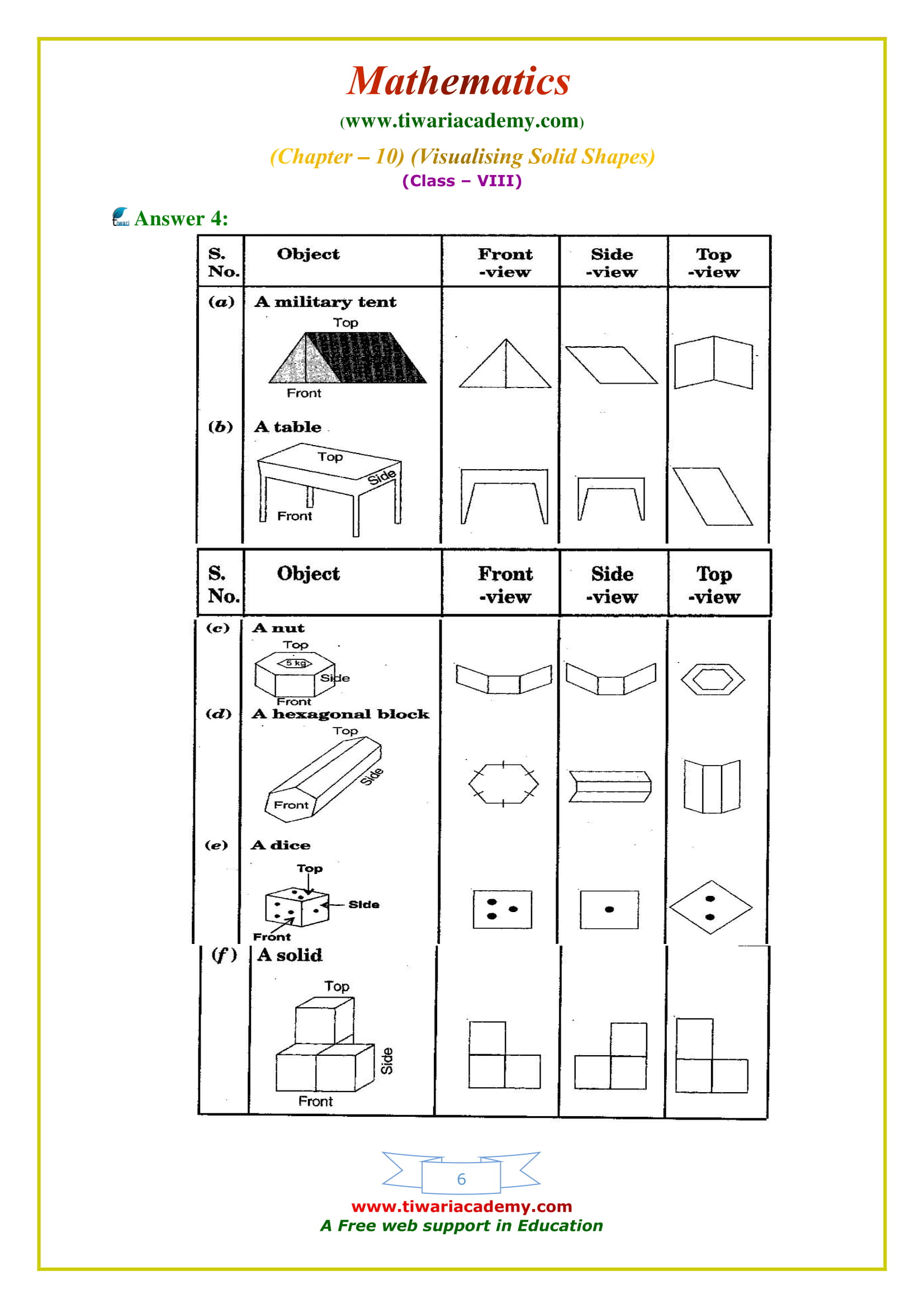NCERT Solutions for Class 8 Maths Chapter 10 Exercise 10.1 free to download