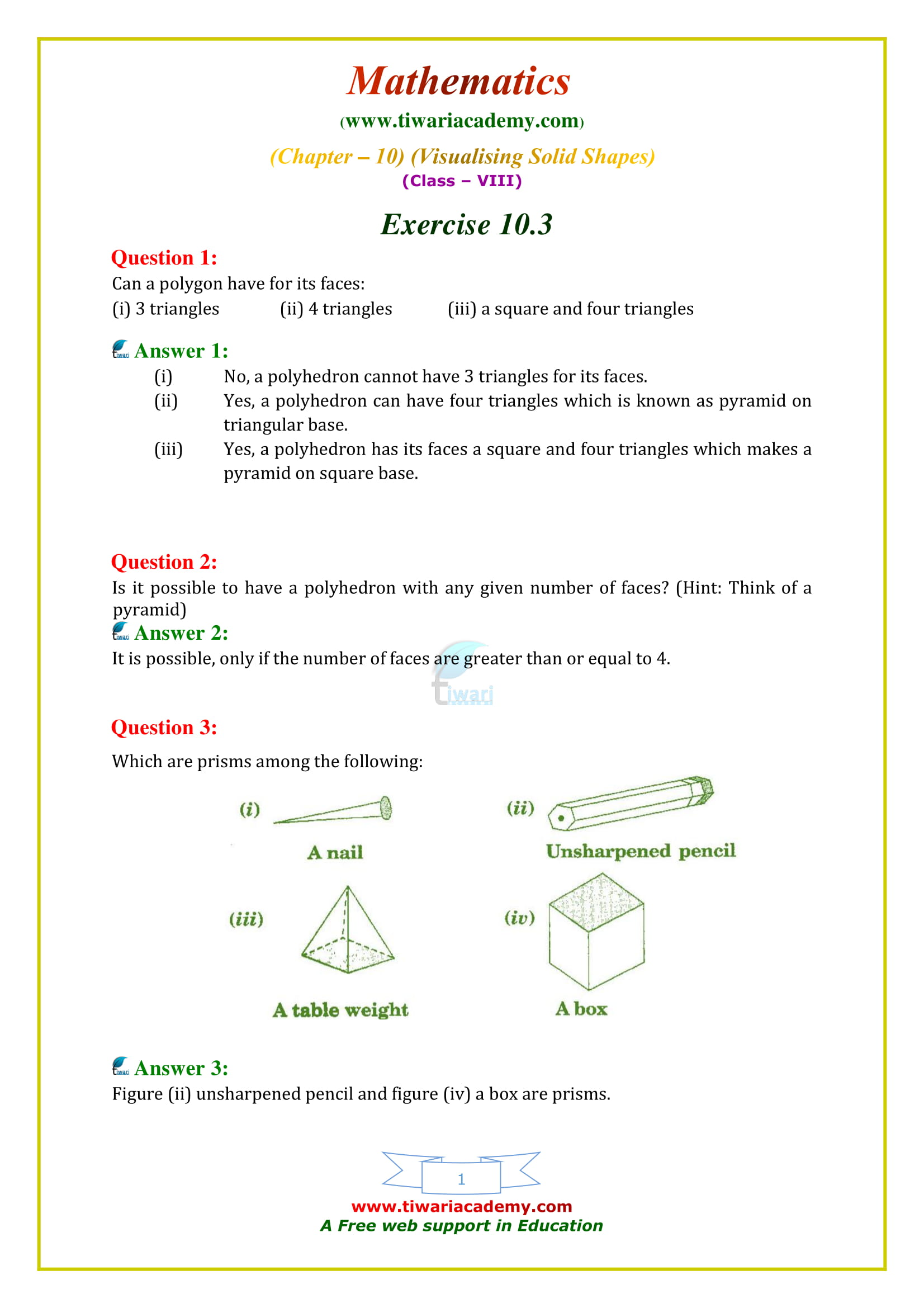 NCERT Solutions for Class 8 Maths Chapter 10 Exercise 10.3 in english medium free