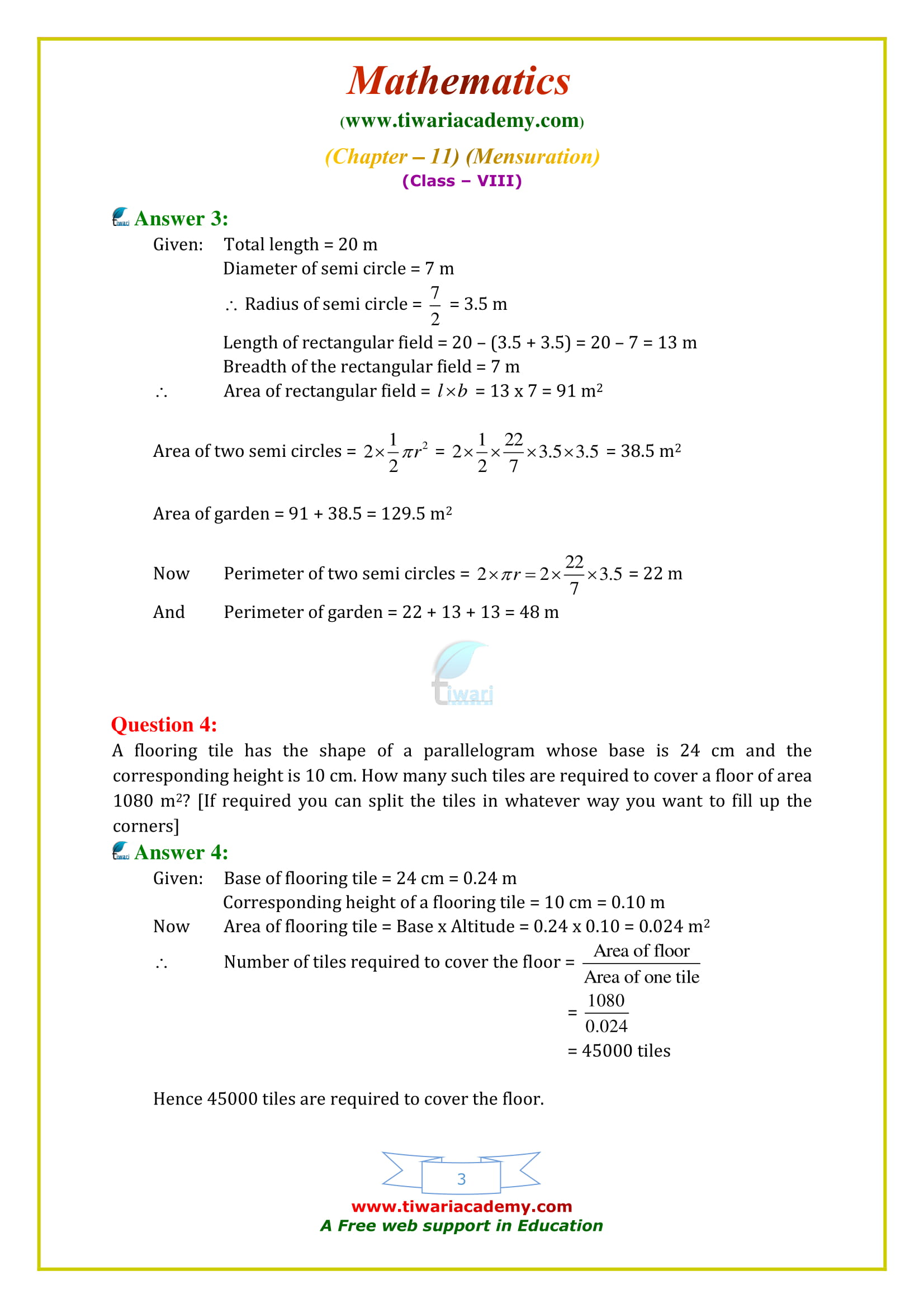NCERT Solutions for Class 8 Maths Chapter 11 Exercise 11.1 free to download and share