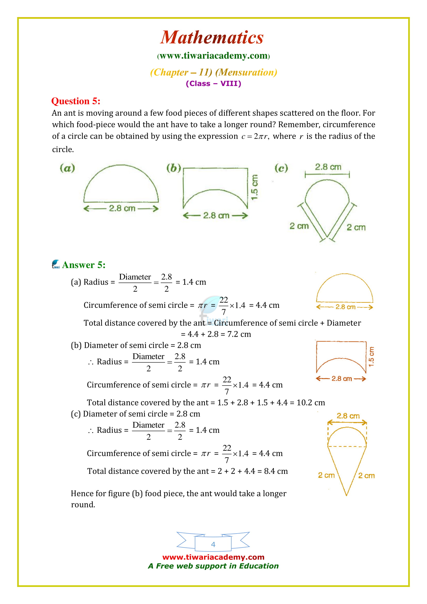 NCERT Solutions for Class 8 Maths Chapter 11 Exercise 11.1 all questions guide