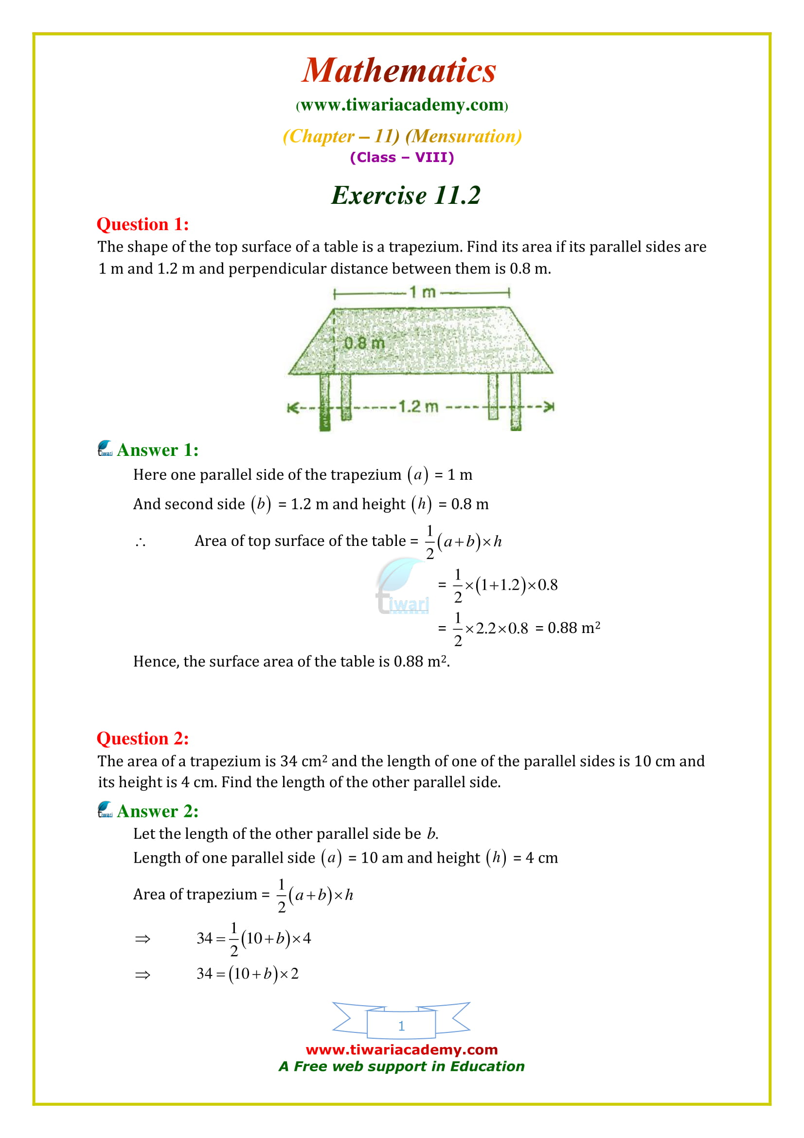 NCERT Solutions for Class 8 Maths Chapter 11 Exercise 11.2 mensuration in english medium free
