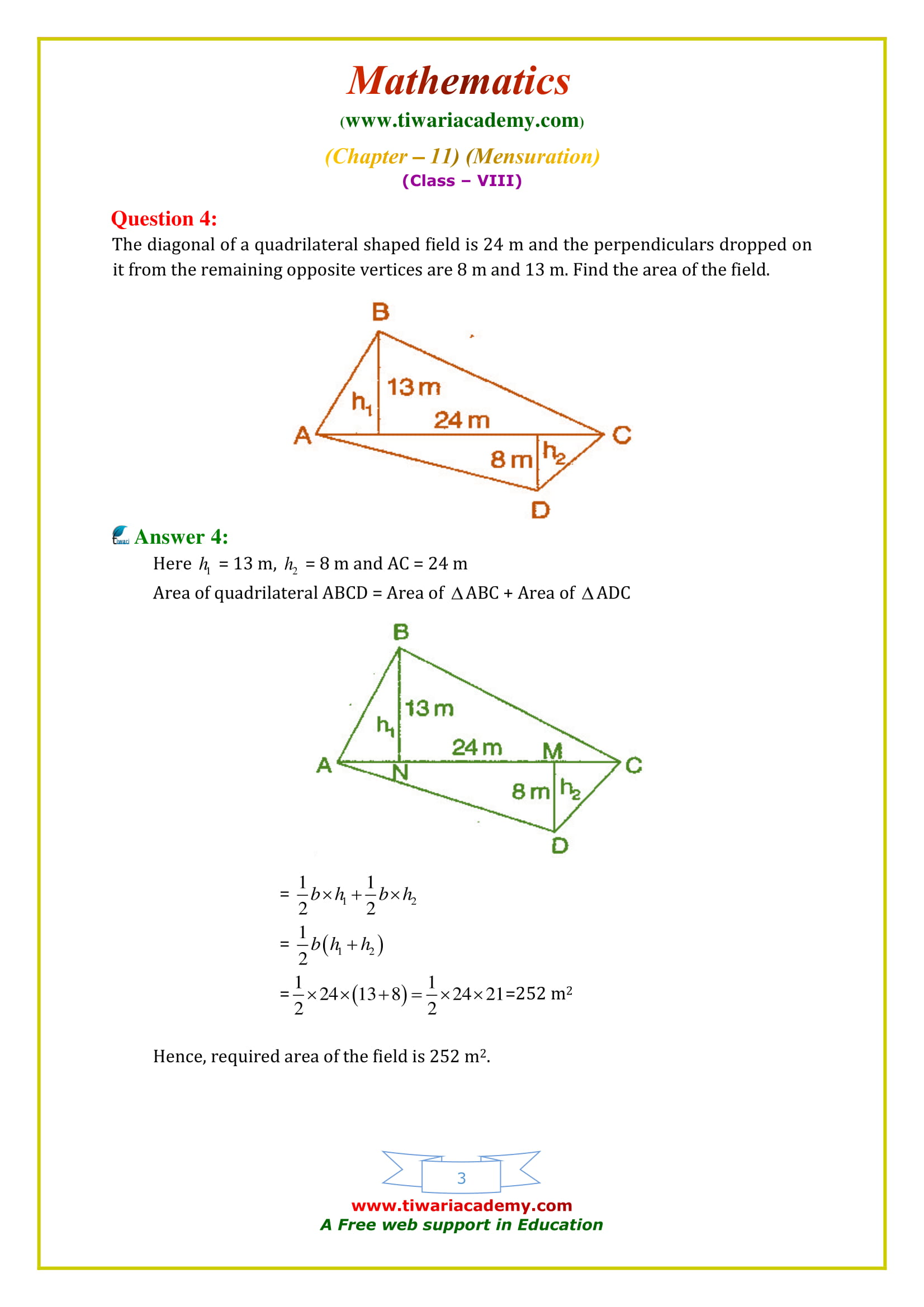 NCERT Solutions for Class 8 Maths Chapter 11 Exercise 11.2 all questions guide