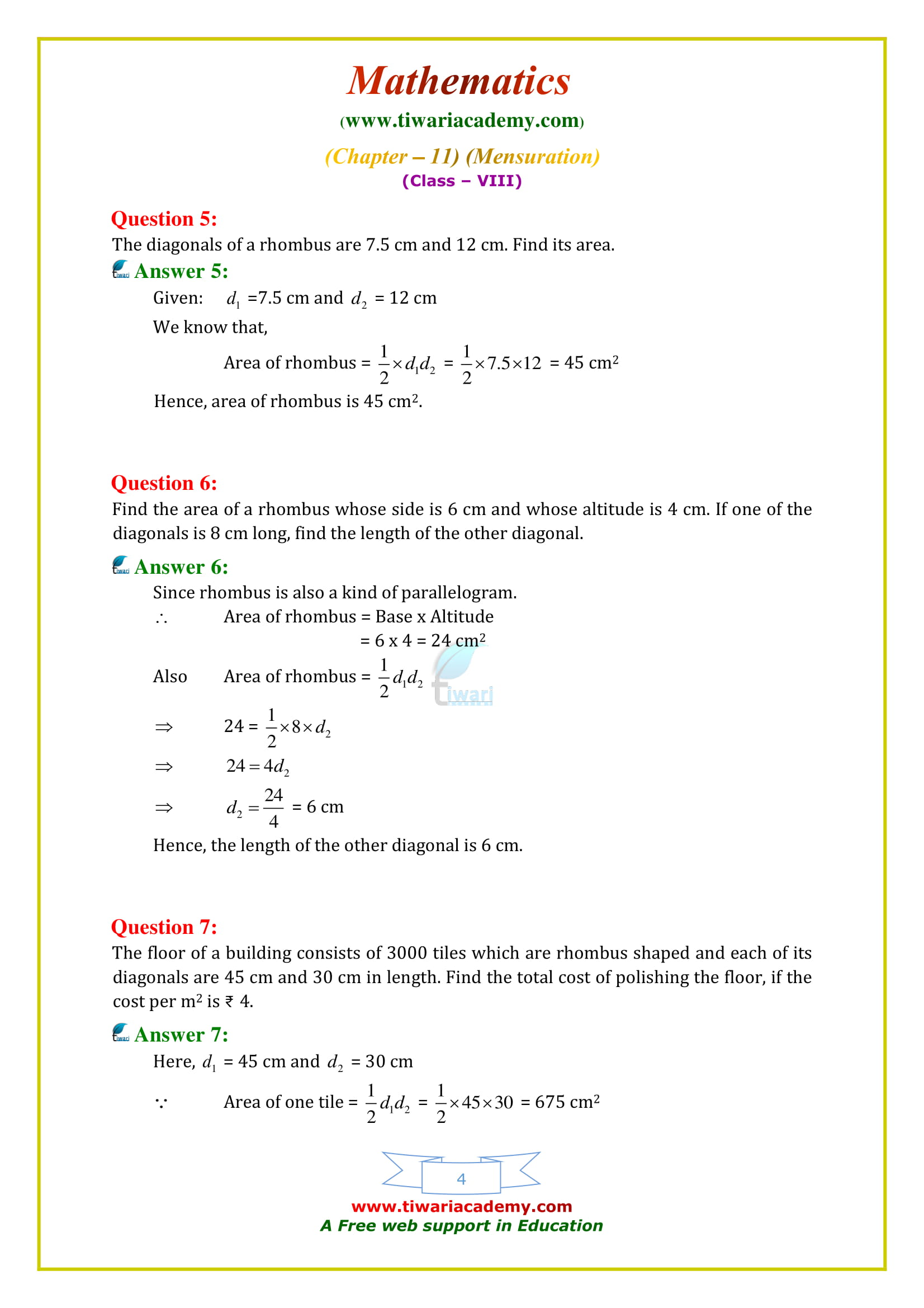 NCERT Solutions for Class 8 Maths Chapter 11 Exercise 11.2 nd key for all questions