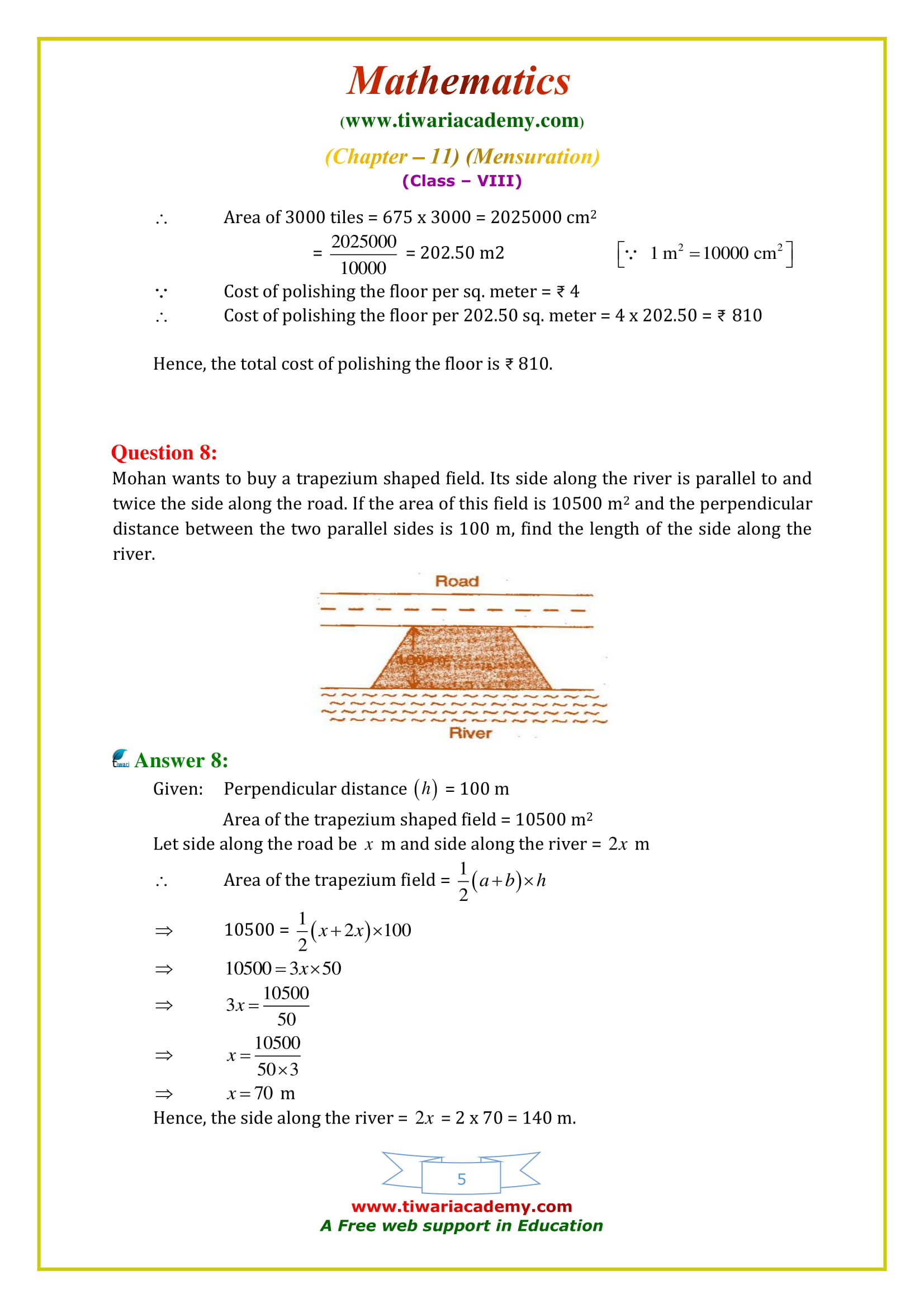 NCERT Solutions for Class 8 Maths Chapter 11 Exercise 11.2 free to download