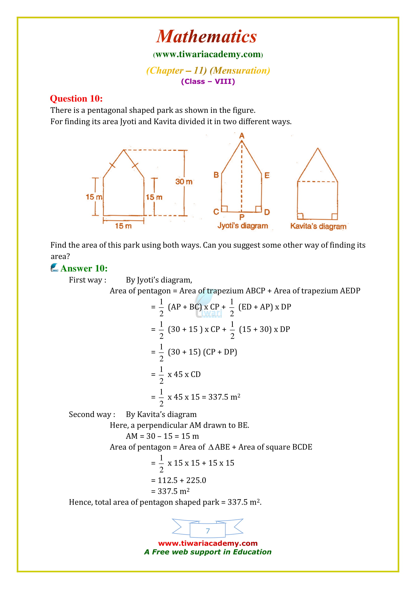 NCERT Solutions for Class 8 Maths Chapter 11 Exercise 11.2 in english