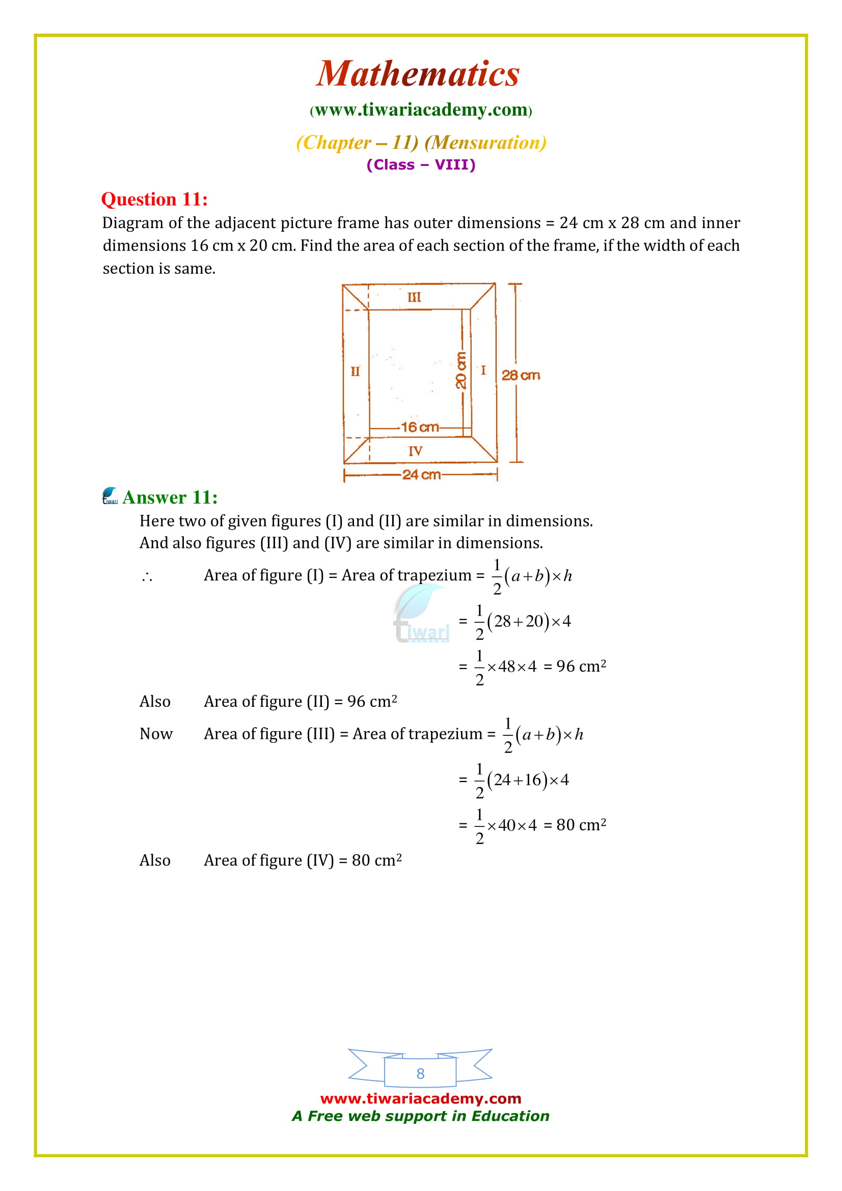 NCERT Solutions for Class 8 Maths Chapter 11 Exercise 11.2 all questions