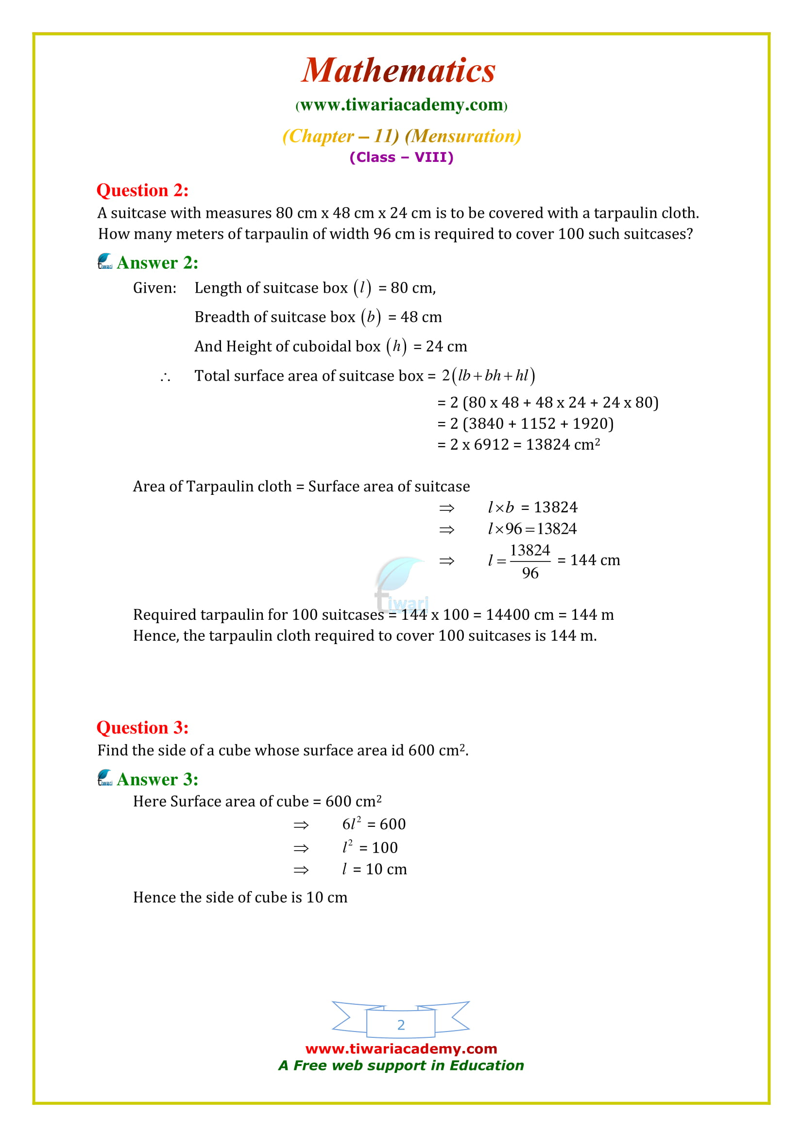 NCERT Solutions for Class 8 Maths Chapter 11 Exercise 11.3 updated for 2018-19
