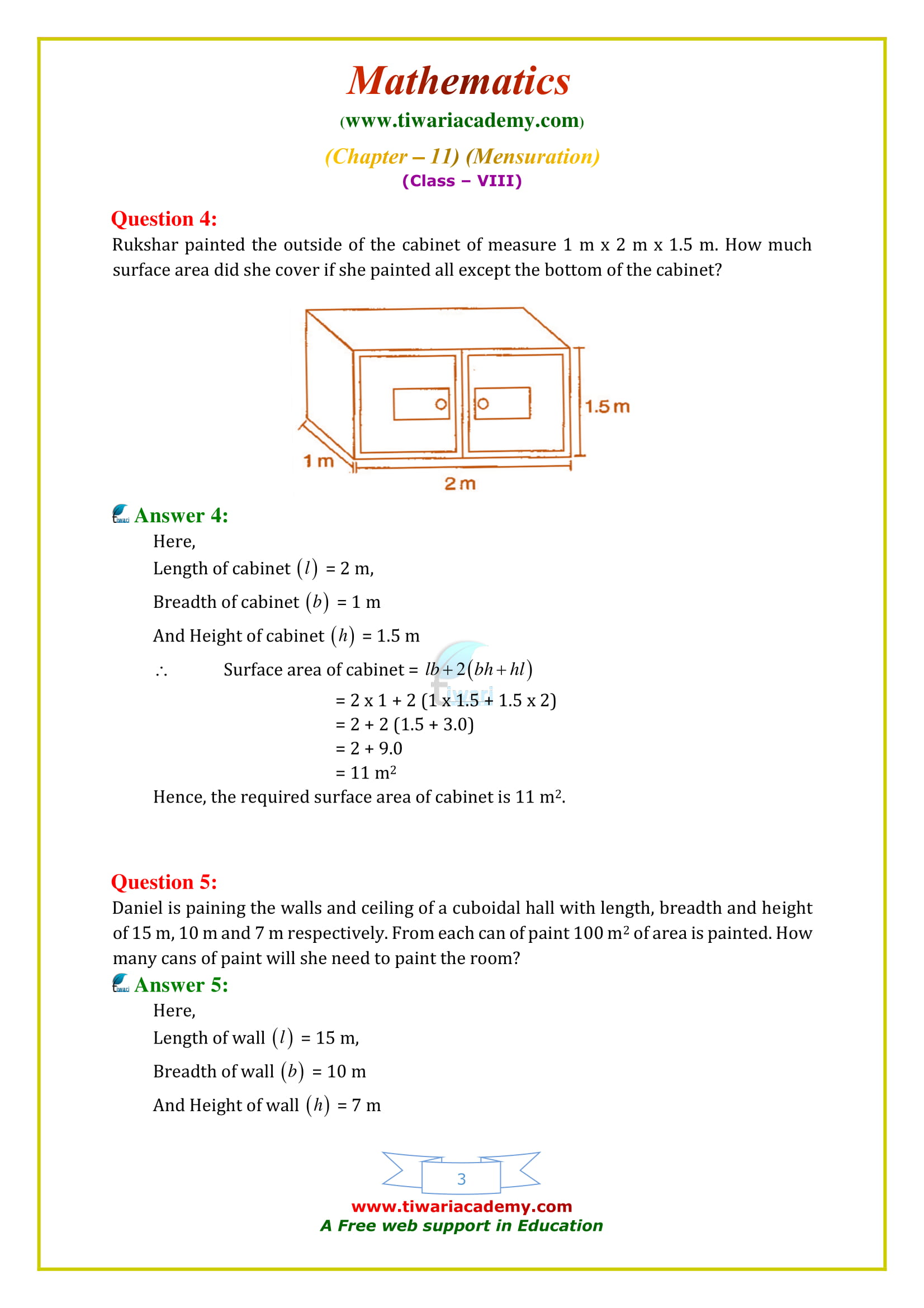NCERT Solutions for Class 8 Maths Chapter 11 Exercise 11.3 free to download
