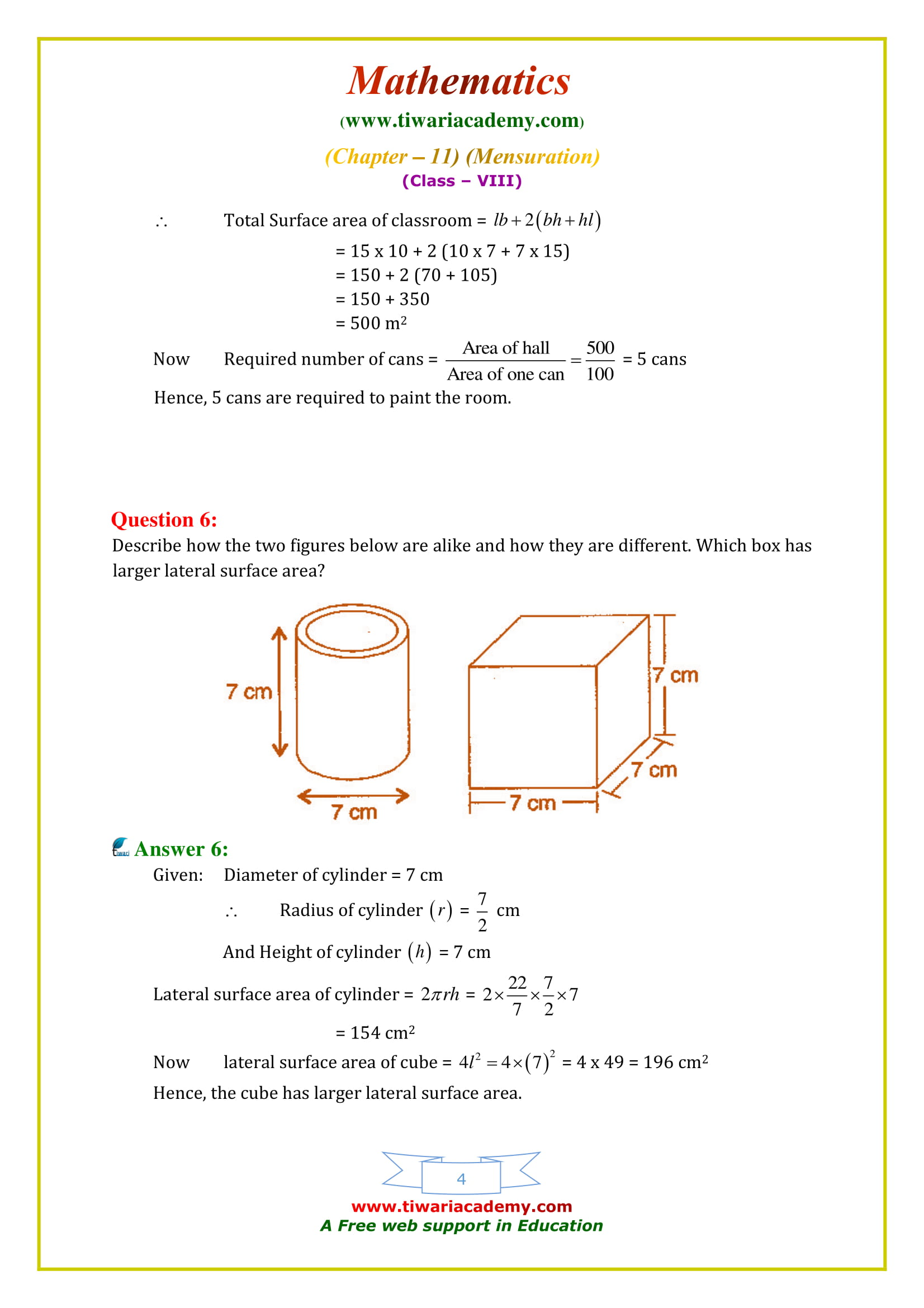 NCERT Solutions for Class 8 Maths Chapter 11 Exercise 11.3 on new chse syllabus