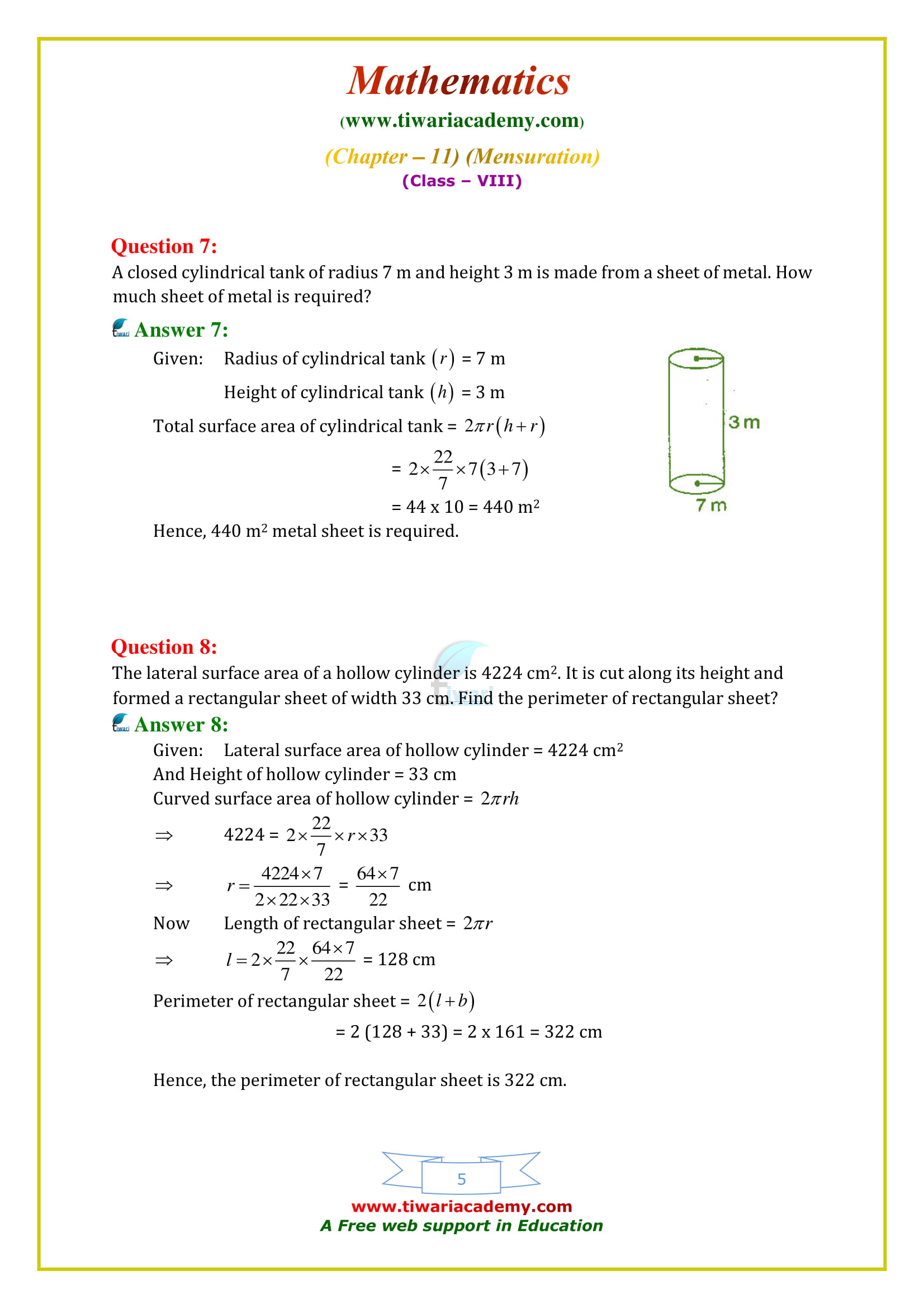 NCERT Solutions for Class 8 Maths Chapter 11 Exercise 11.3 for mp board students