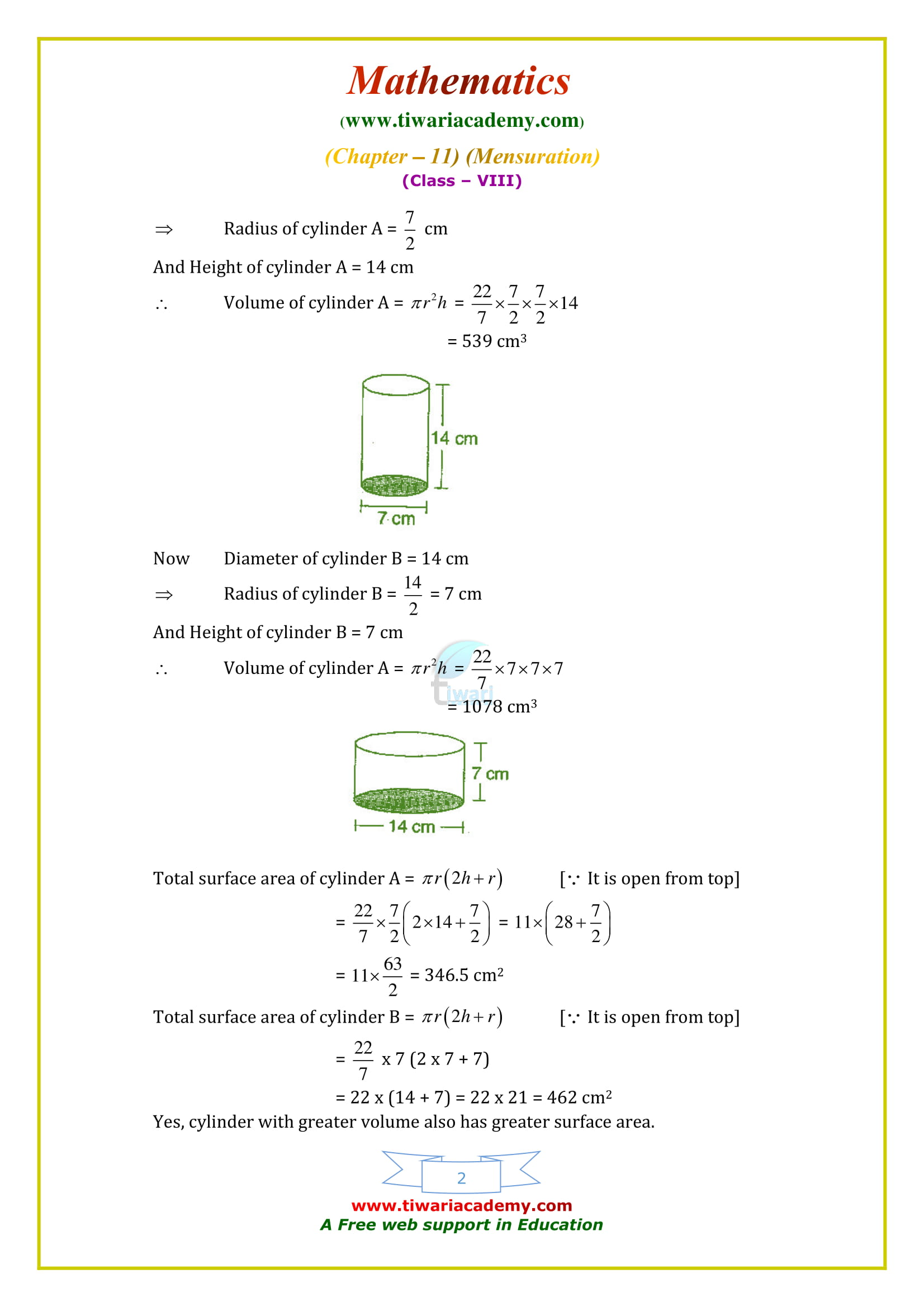 NCERT Solutions for Class 8 Maths Chapter 11 Exercise 11.4 free to download or use online
