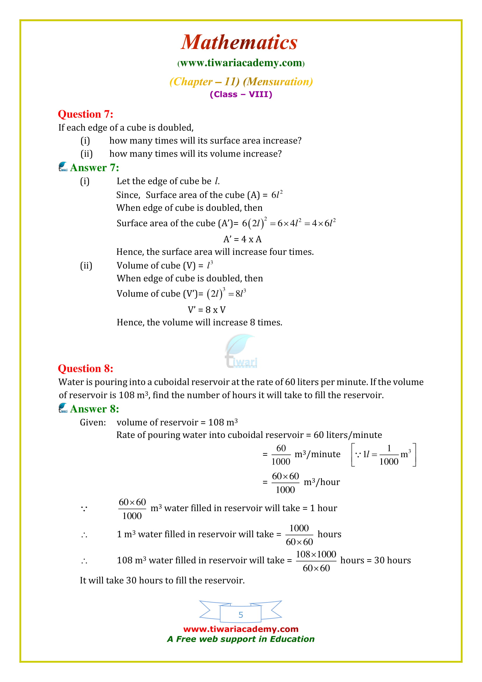 NCERT Solutions for Class 8 Maths Chapter 11 Exercise 11.4 in PDF