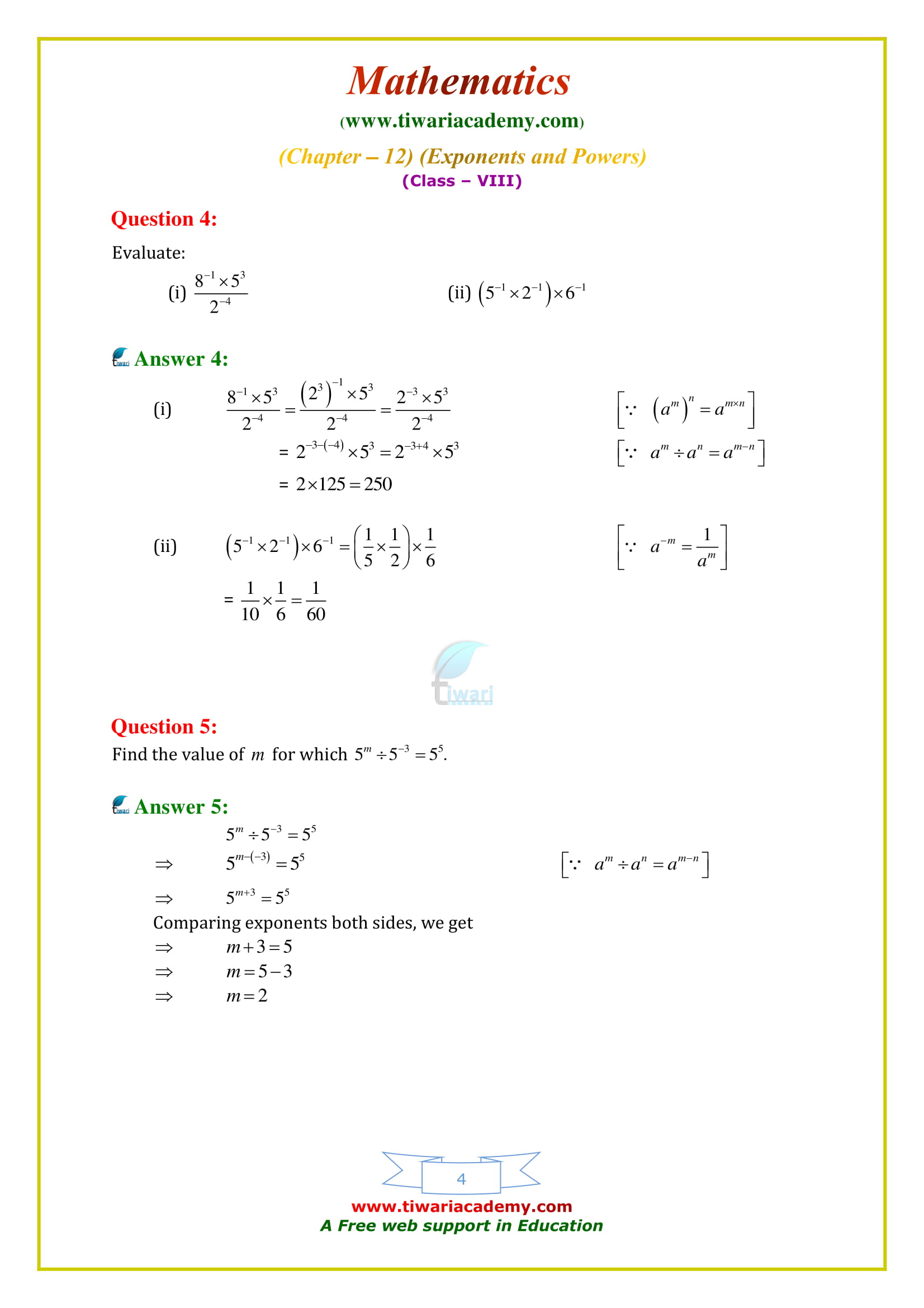NCERT Solutions for Class 8 Maths Chapter 12 Exercise 12.1 download free