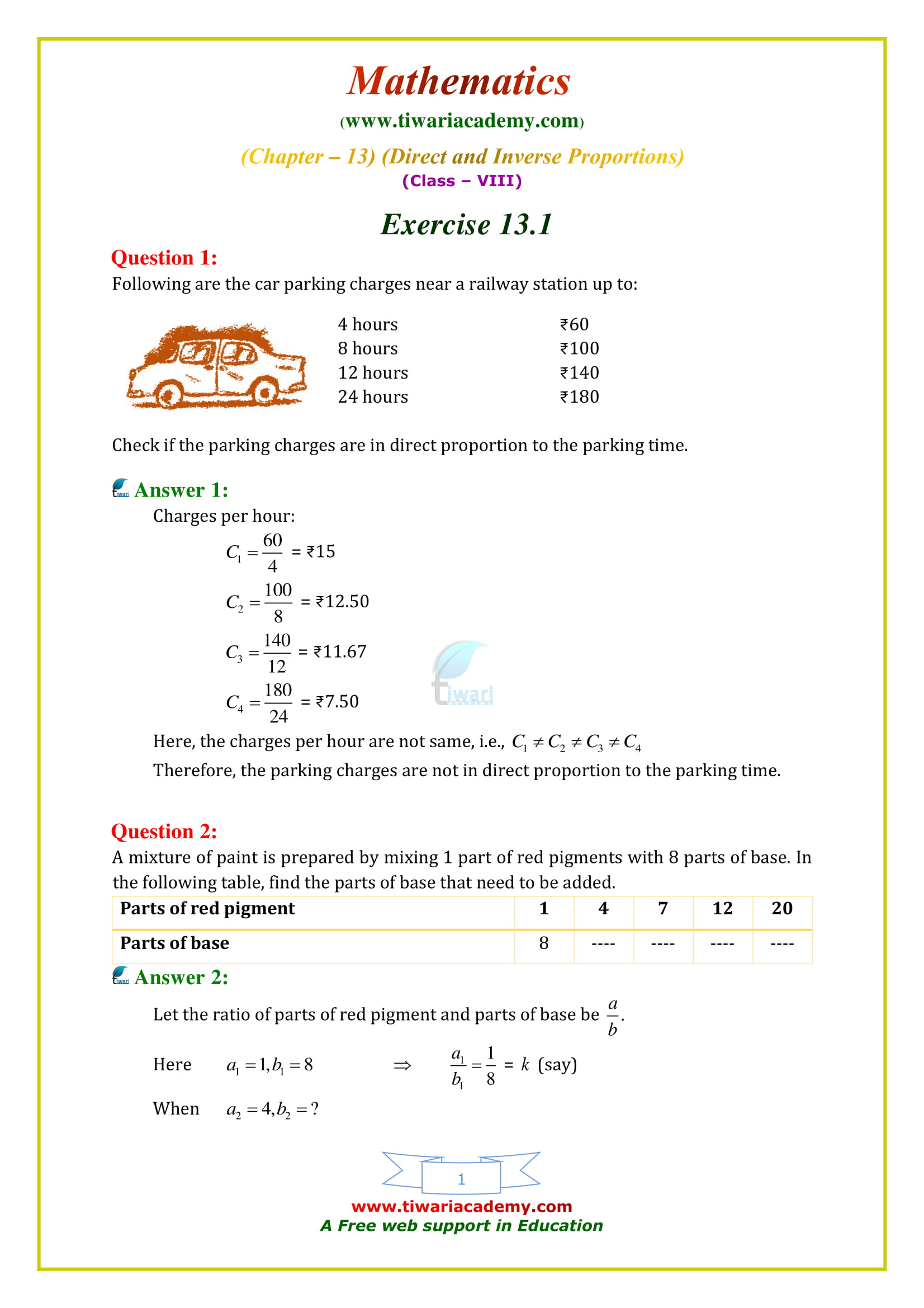 NCERT Solutions for Class 8 Maths Chapter 13 Exercise 13.1 Direct and Inverse Proportions in english medium