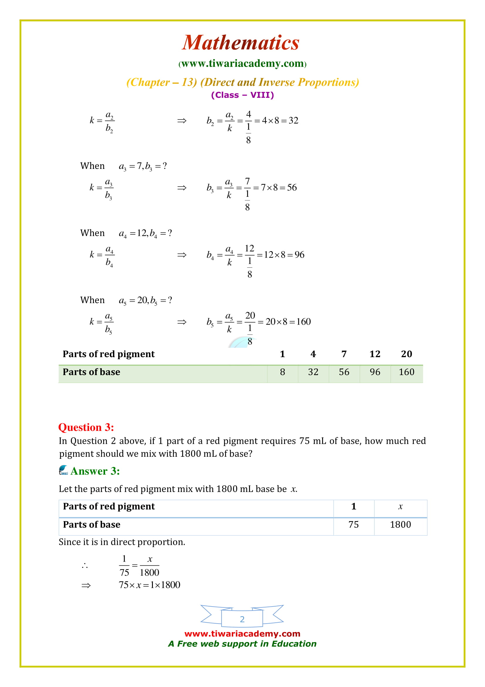 NCERT Solutions for Class 8 Maths Chapter 13 Exercise 13.1 Direct and Inverse Proportions updated for 2020 – 2021