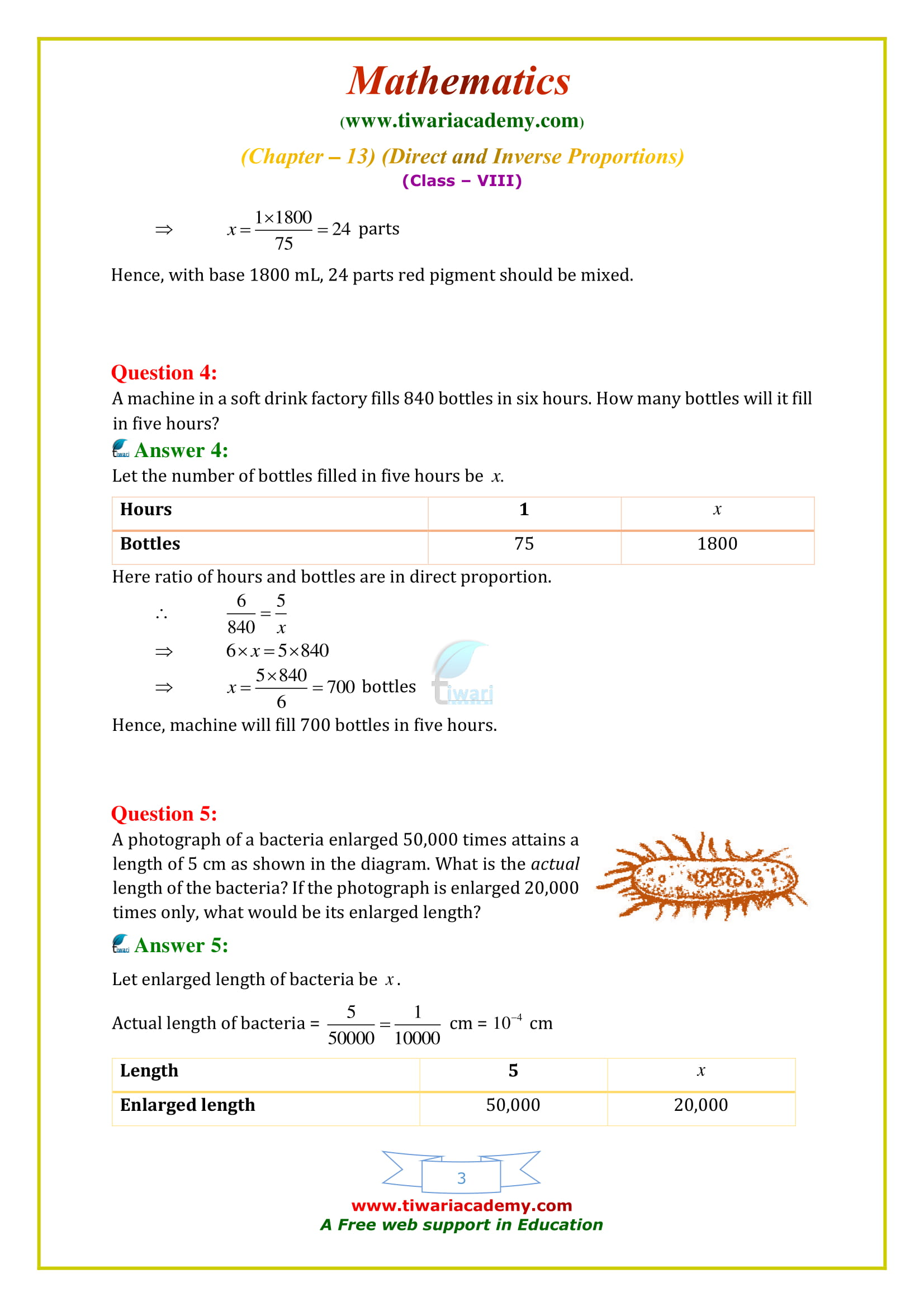 NCERT Solutions for Class 8 Maths Chapter 13 Exercise 13.1 Direct and Inverse Proportions for mp and cbse board