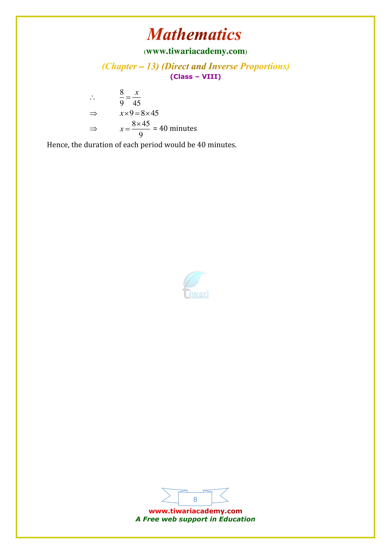 NCERT Solutions for Class 8 Maths Chapter 13 Exercise 13.2 in english medium 2018-19