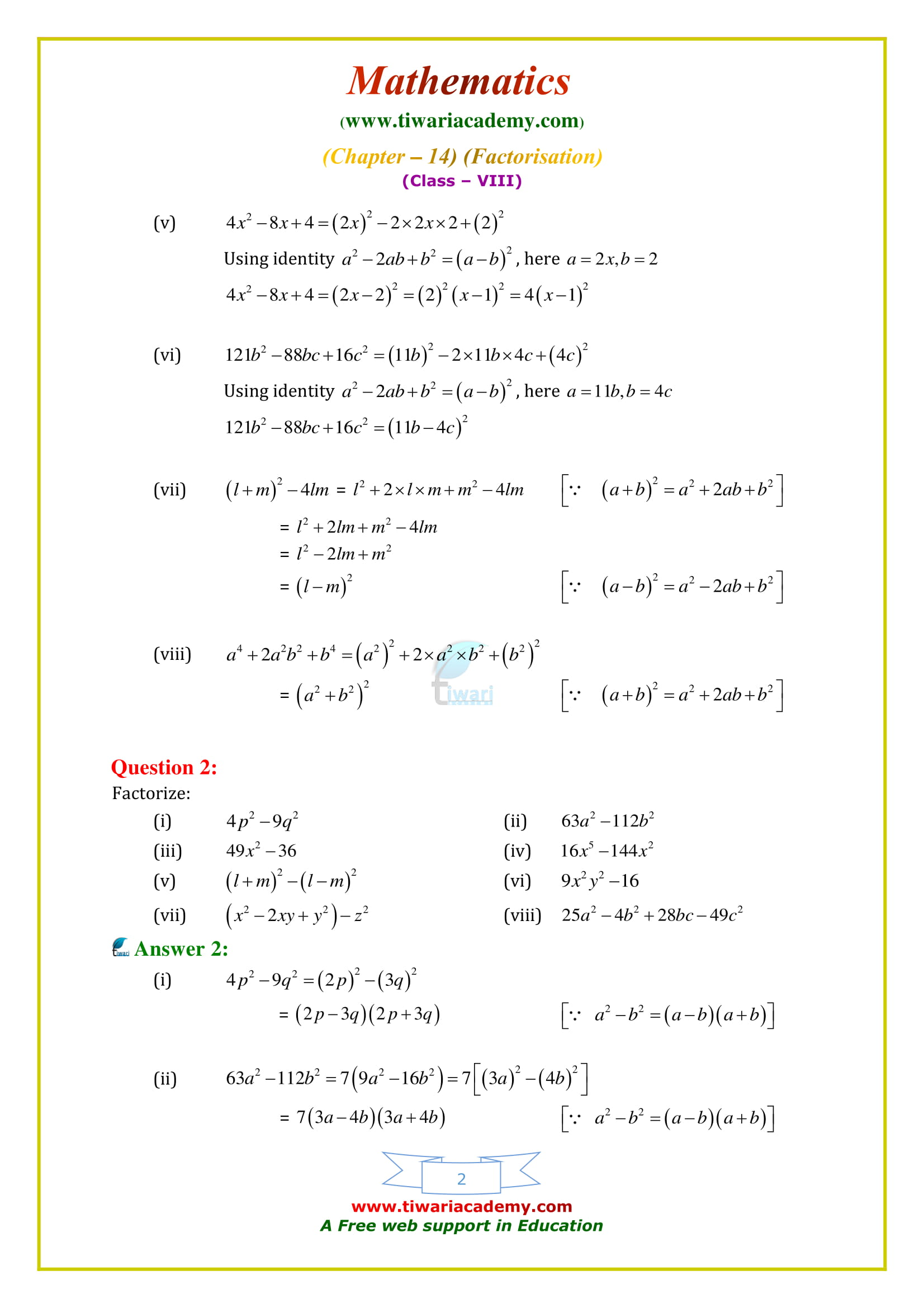 NCERT Solutions for Class 8 Maths Chapter 14 Exercise 14.2 factorisation in english medium