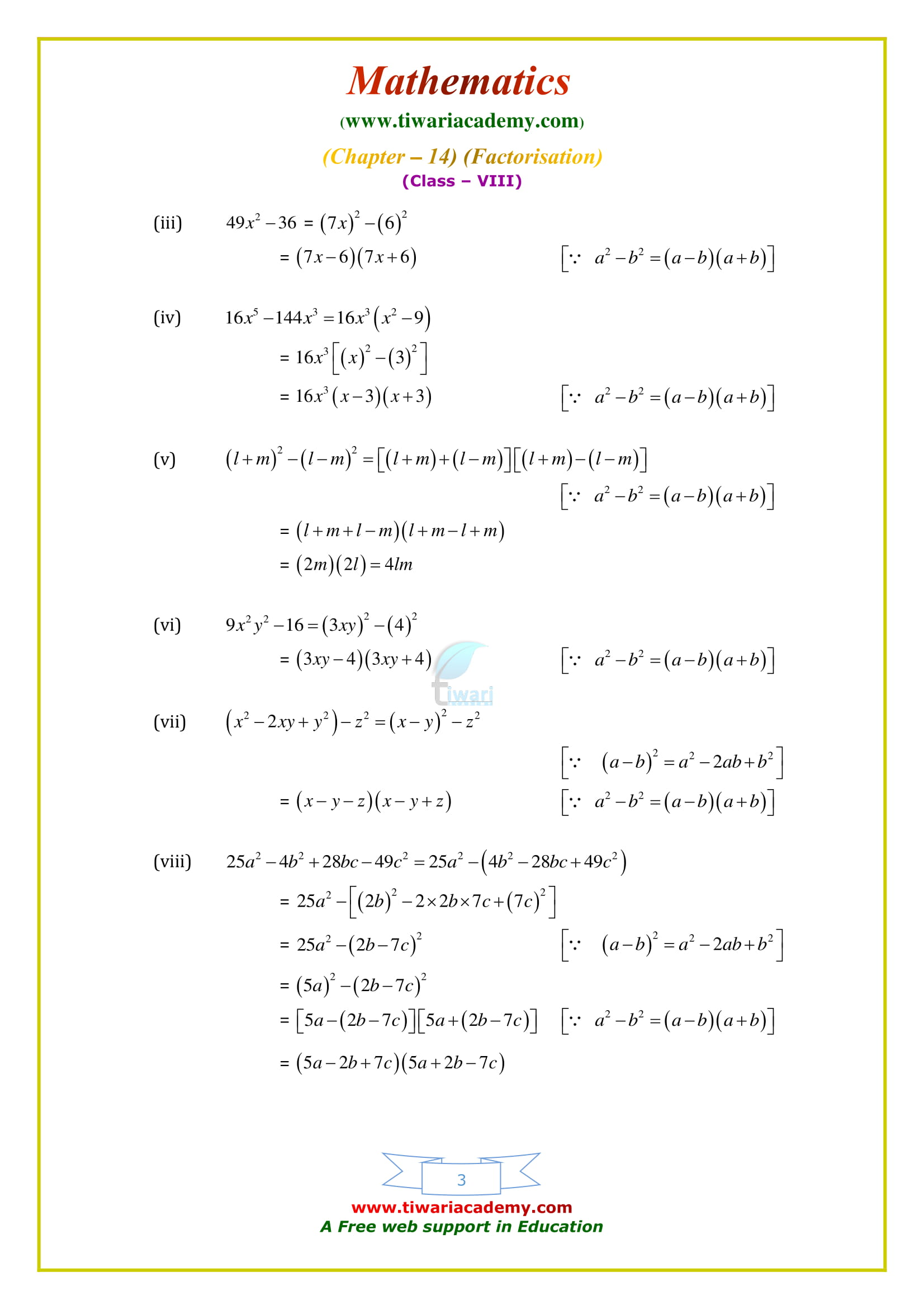 NCERT Solutions for Class 8 Maths Chapter 14 Exercise 14.2 free to use and download