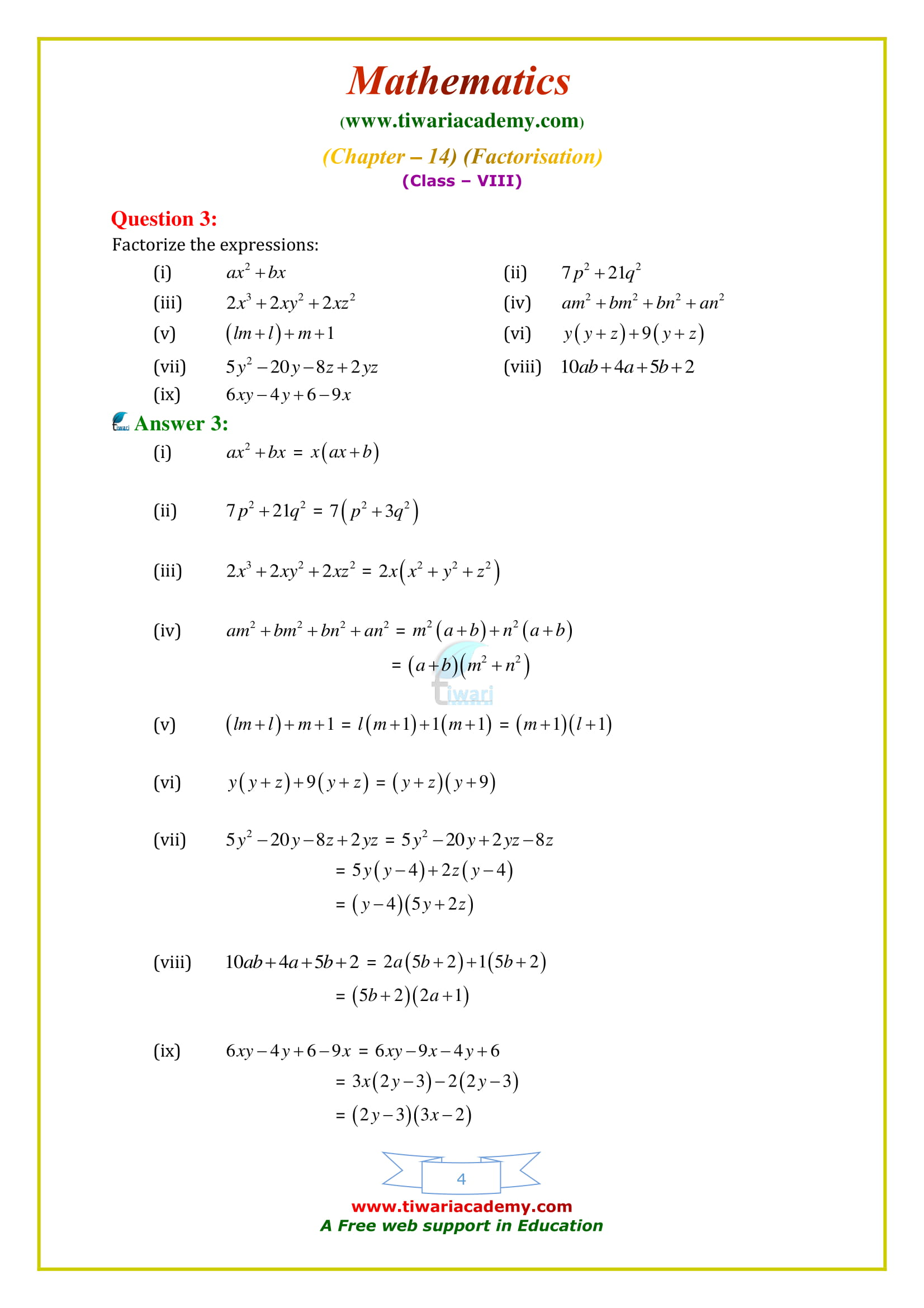 NCERT Solutions for Class 8 Maths Chapter 14 Exercise 14.2 updated for 2018-19