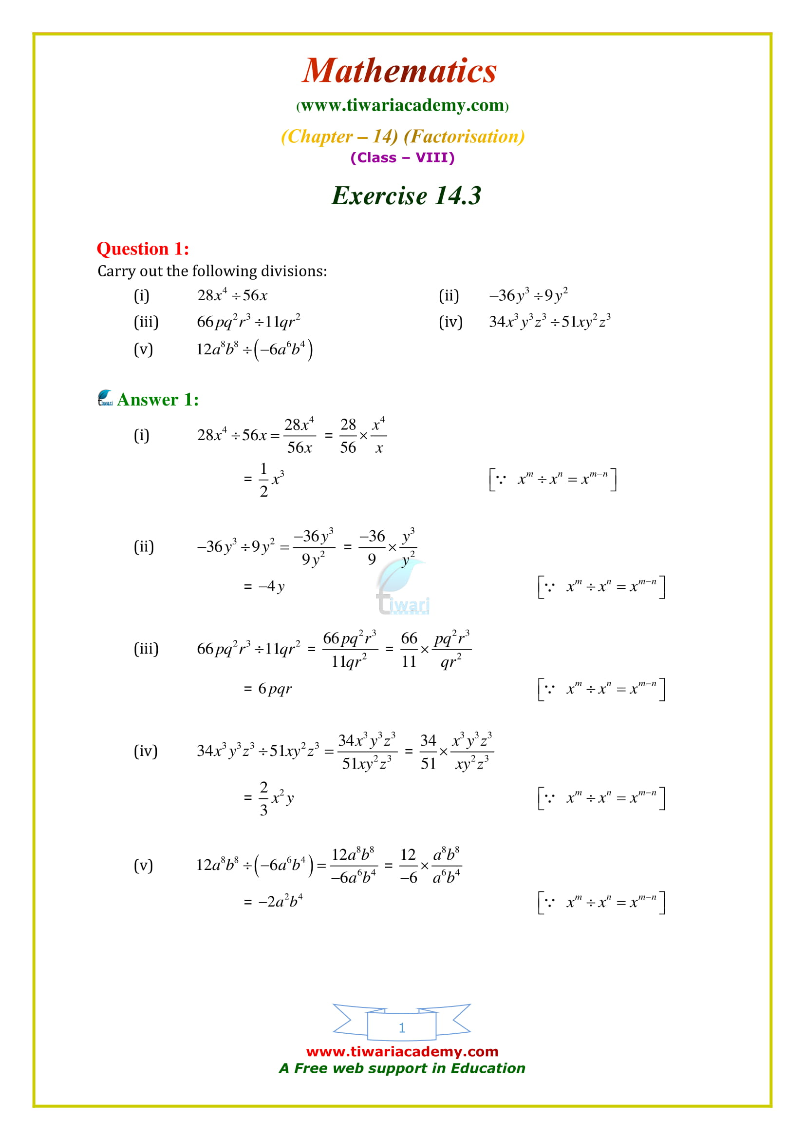 NCERT Solutions for Class 8 Maths Chapter 14 Exercise 14.3 in english