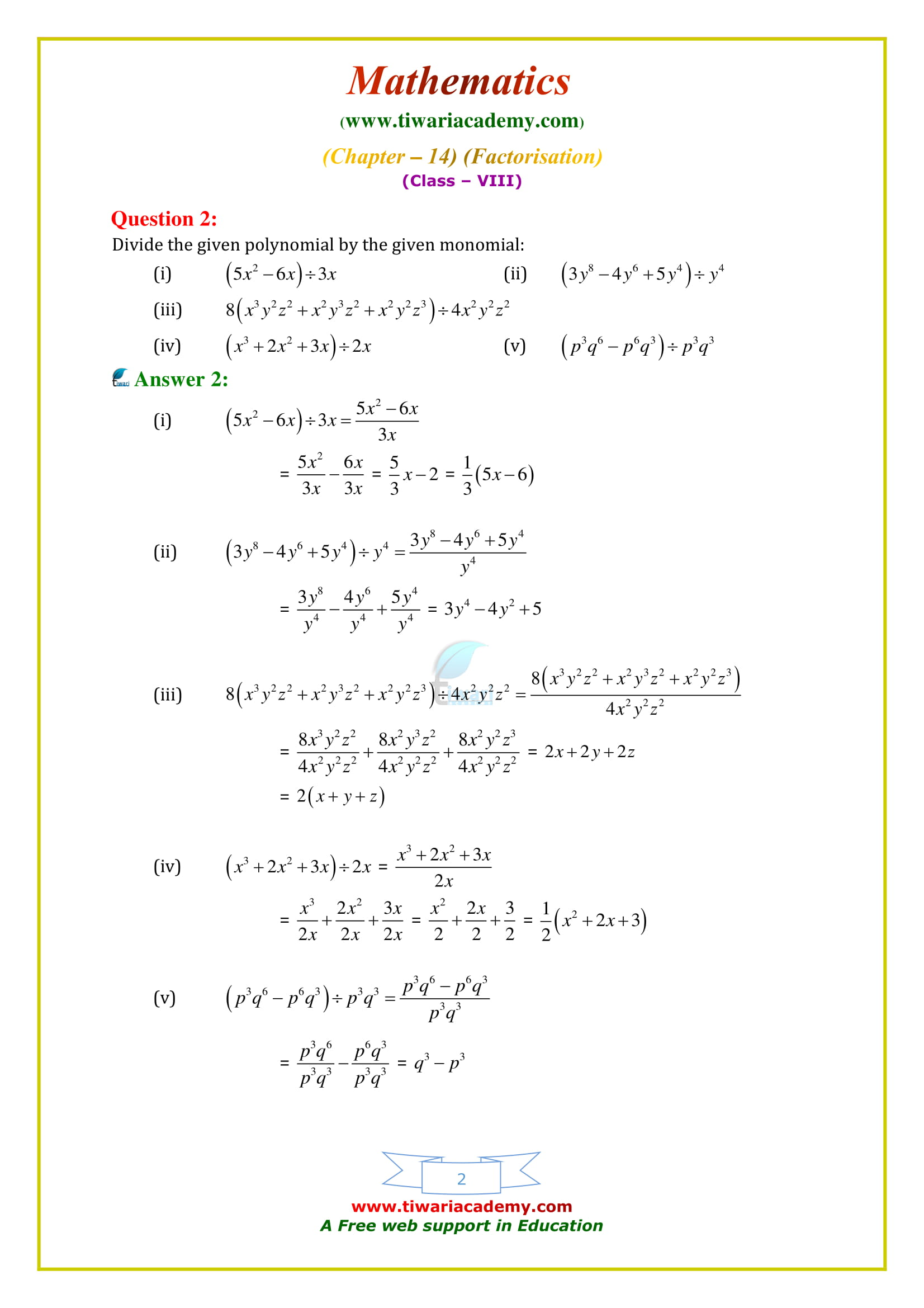 NCERT Solutions for Class 8 Maths Chapter 14 Exercise 14.3 in updated form