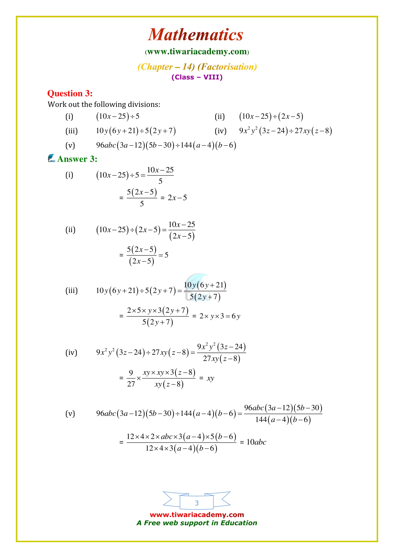 NCERT Solutions for Class 8 Maths Chapter 14 Exercise 14.3 on cbse syllabus 2018-19