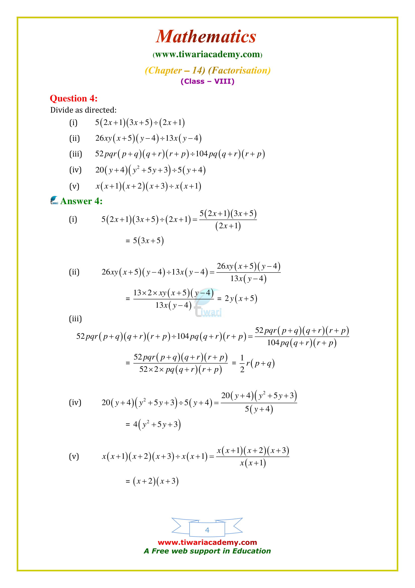 NCERT Solutions for Class 8 Maths Chapter 14 Exercise 14.3 simplified
