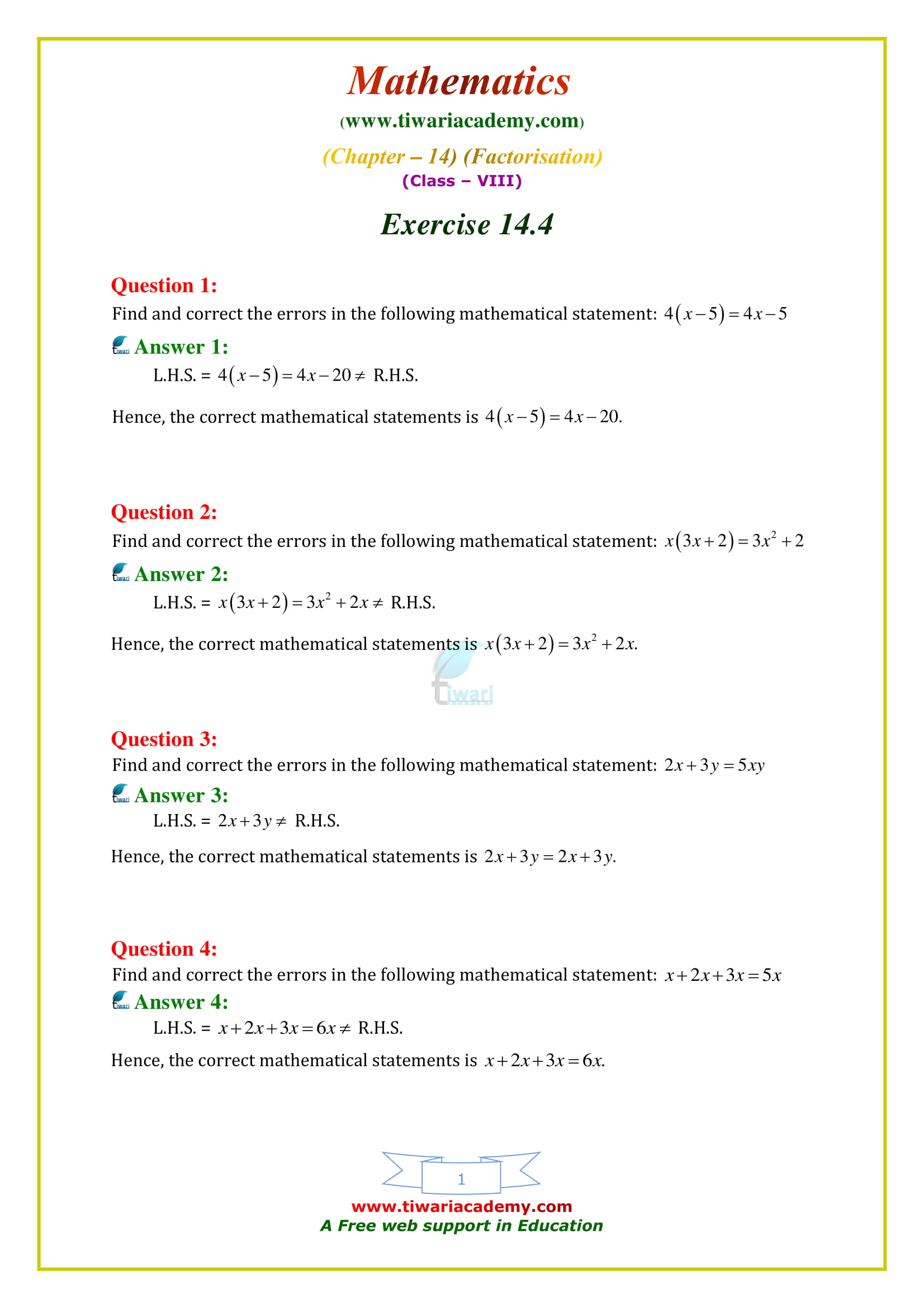 NCERT Solutions for Class 8 Maths Chapter 14 Exercise 14.4 factors