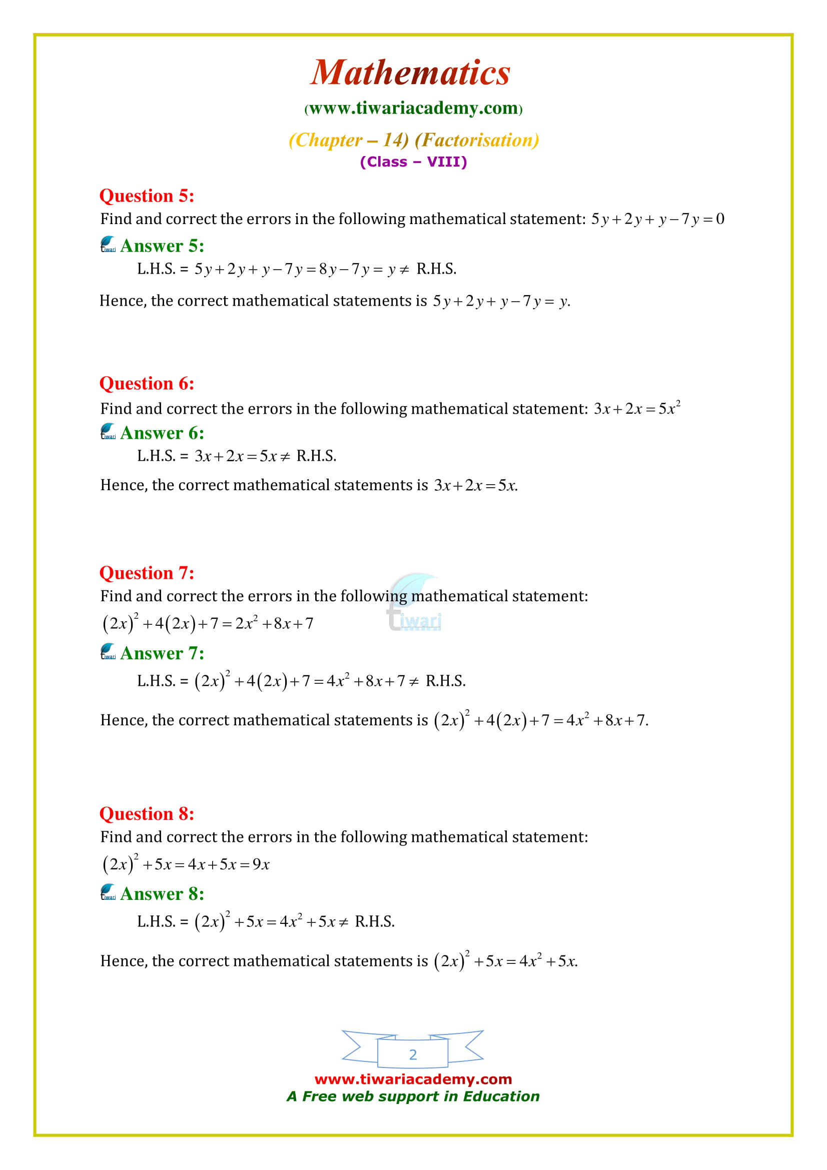 NCERT Solutions for Class 8 Maths Chapter 14 Exercise 14.4 factorization in english