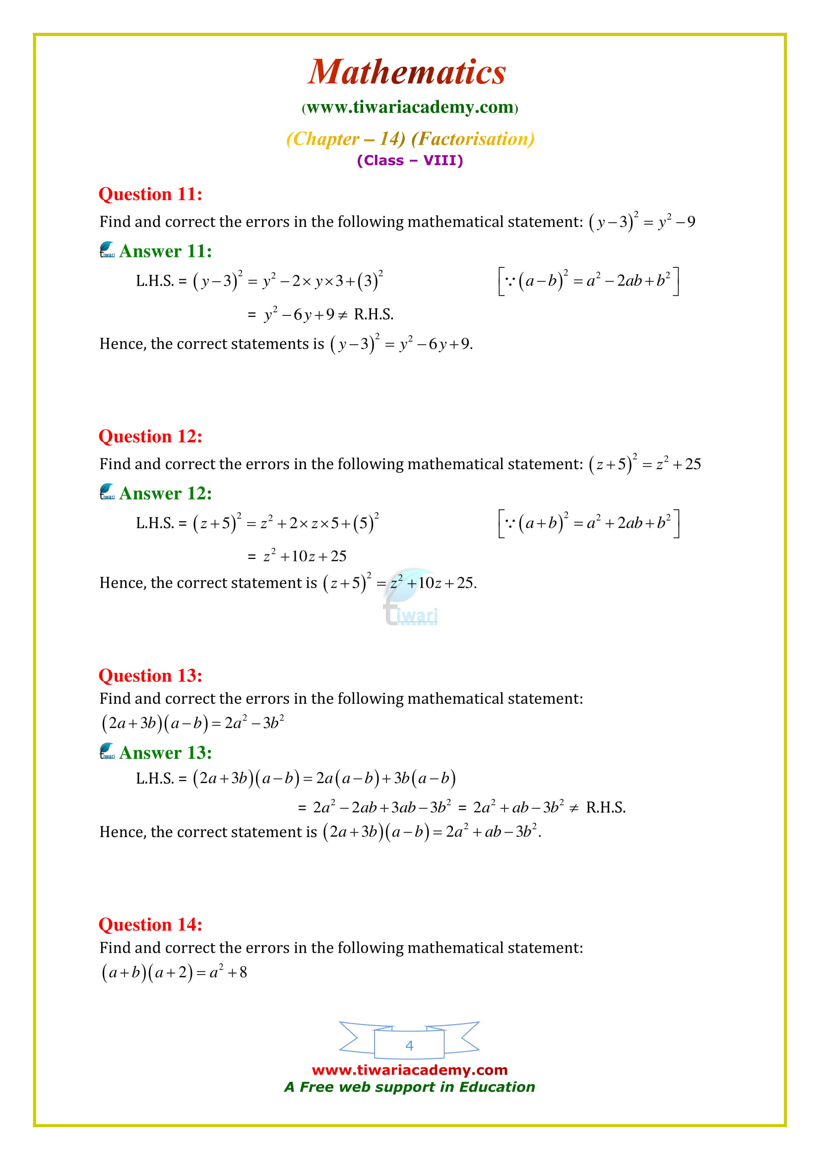 NCERT Solutions for Class 8 Maths Chapter 14 Exercise 14.4 based on new syllabus
