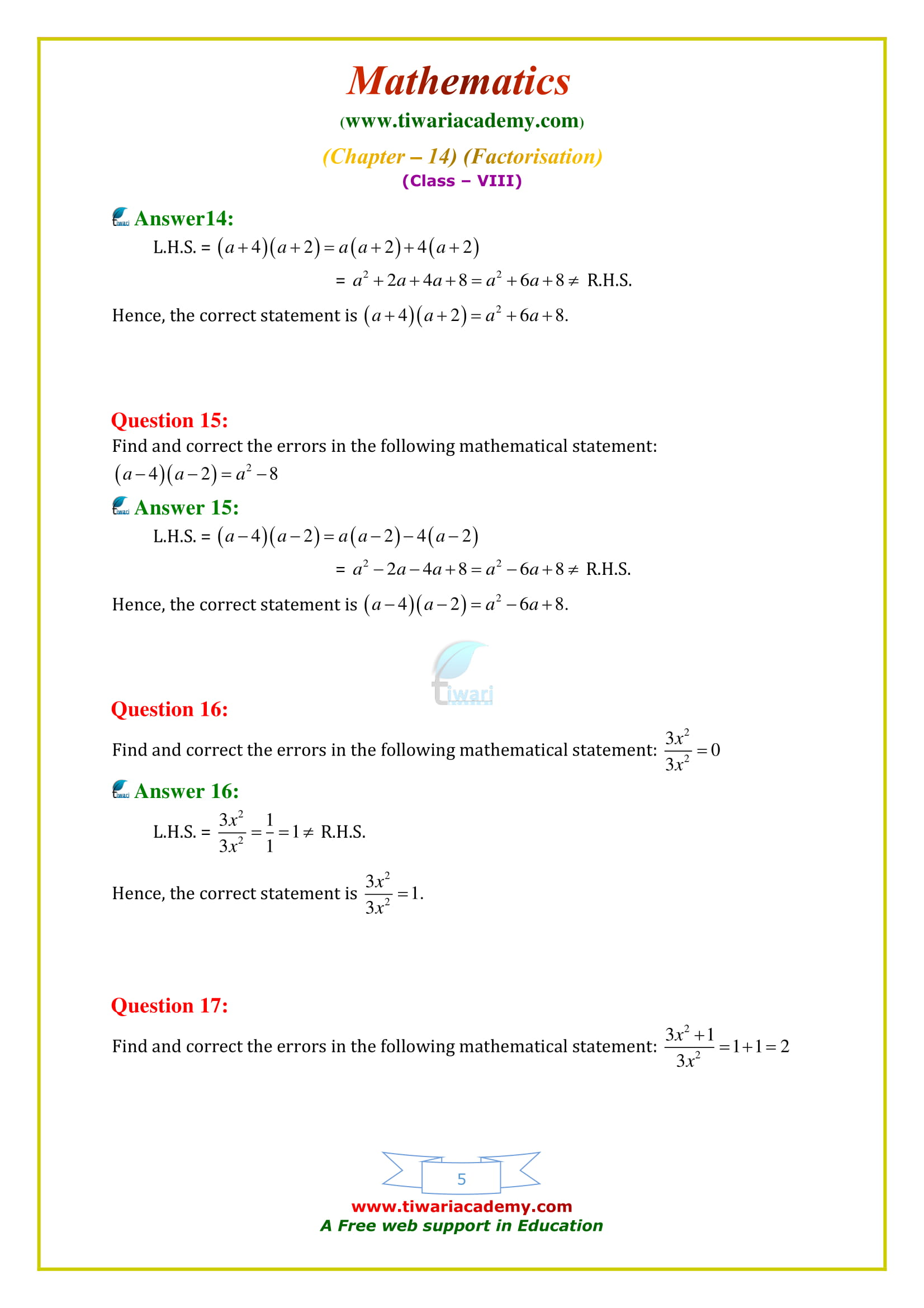 NCERT Solutions for Class 8 Maths Chapter 14 Exercise 14.4 free to download