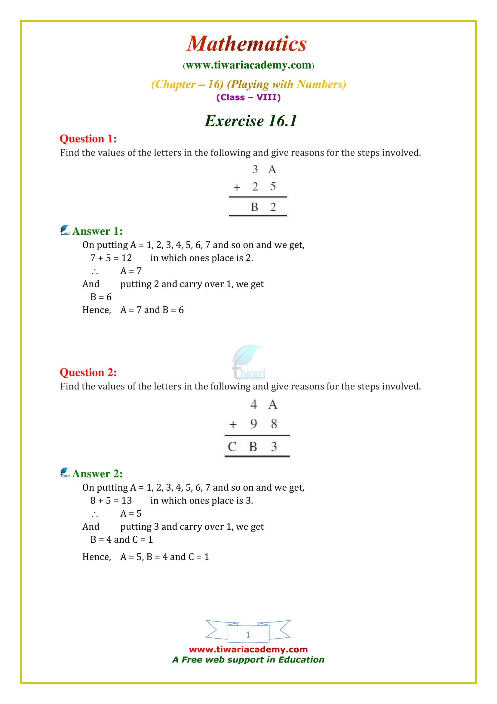 NCERT Solutions for Class 8 Maths Chapter 16 Exercise 16.1